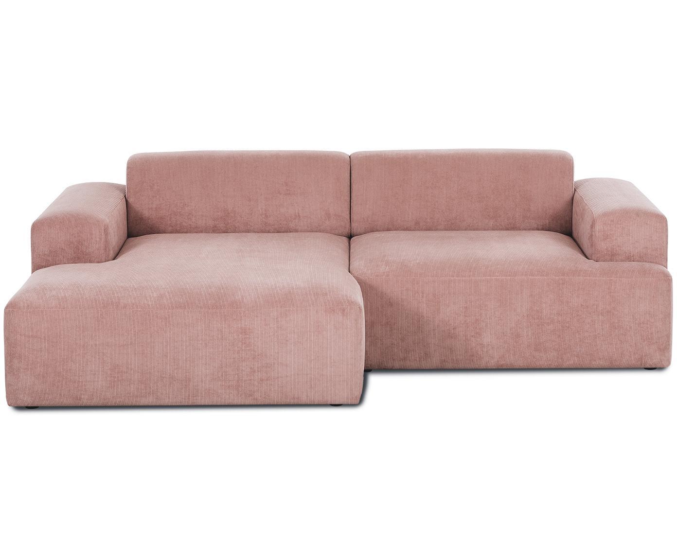 Cord-Ecksofa Melva (3-Sitzer), Bezug: Cord (92% Polyester, 8% P, Gestell: Massives Kiefernholz, Spa, Cord Rosa, B 240 x T 144 cm