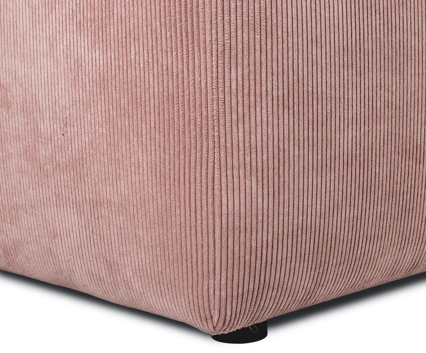 Sofa narożna ze sztruksu Melva (3-osobowa), Tapicerka: sztruks (92% poliester, 8, Stelaż: lite drewno sosnowe, płyt, Nogi: drewno sosnowe, Blady różowy, S 240 x G 144 cm