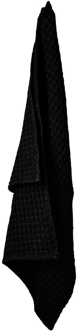 Waffelpiqué-Geschirrtücher Wanda, 2 Stück, Organische Baumwolle, Schwarz, 50 x 70 cm