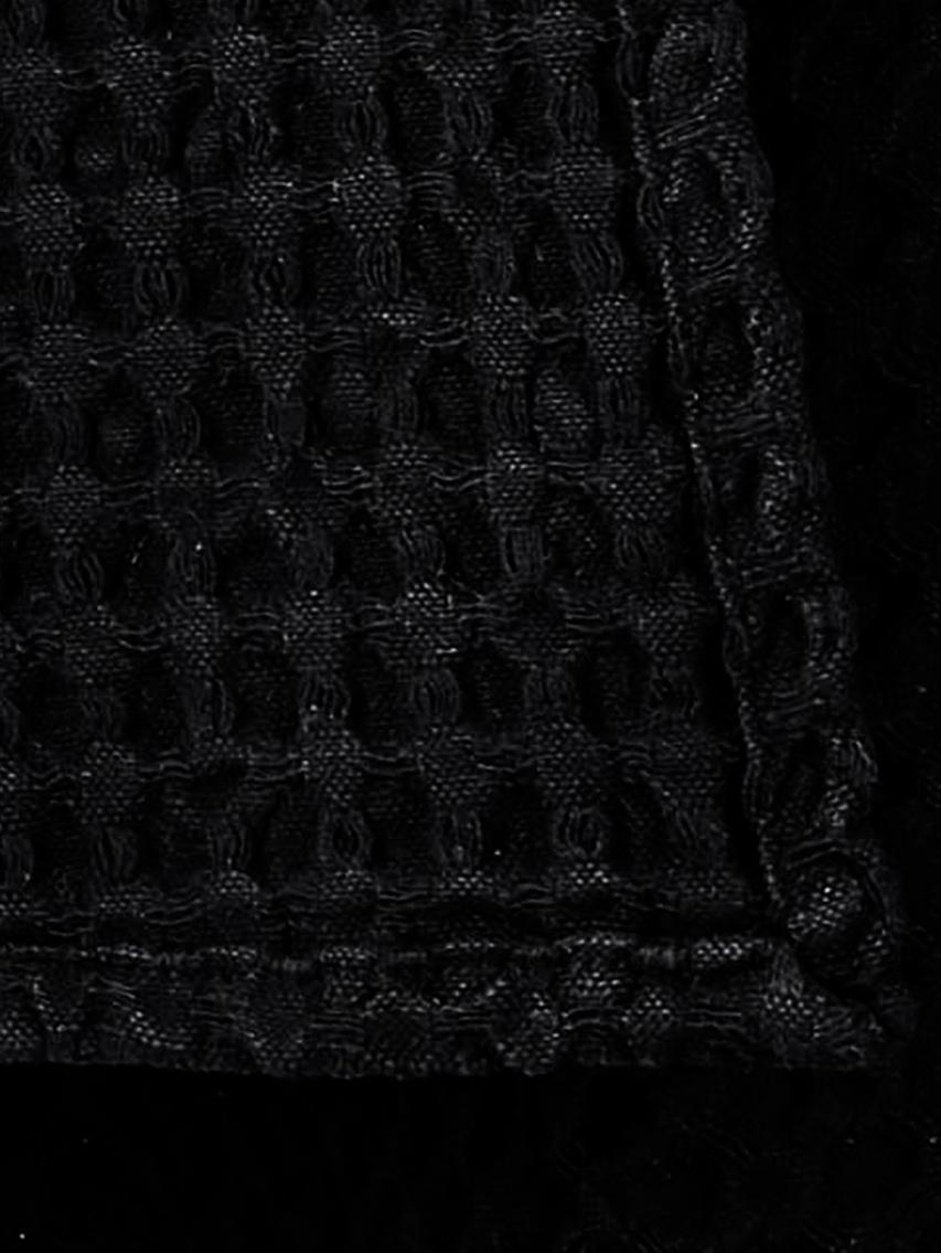 Canovaccio a nido d'ape Wanda 2 pz, Cotone organico, Nero, Larg. 50 x Lung. 70 cm