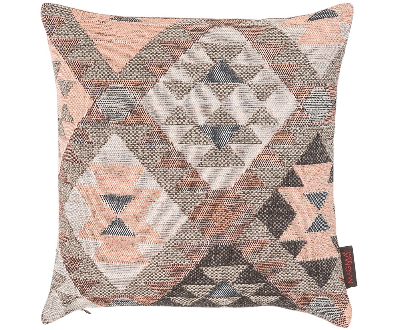 Kussenhoes Lima, Voorzijde: bruin, grijs, roze. Achterzijde: bruin, 40 x 40 cm