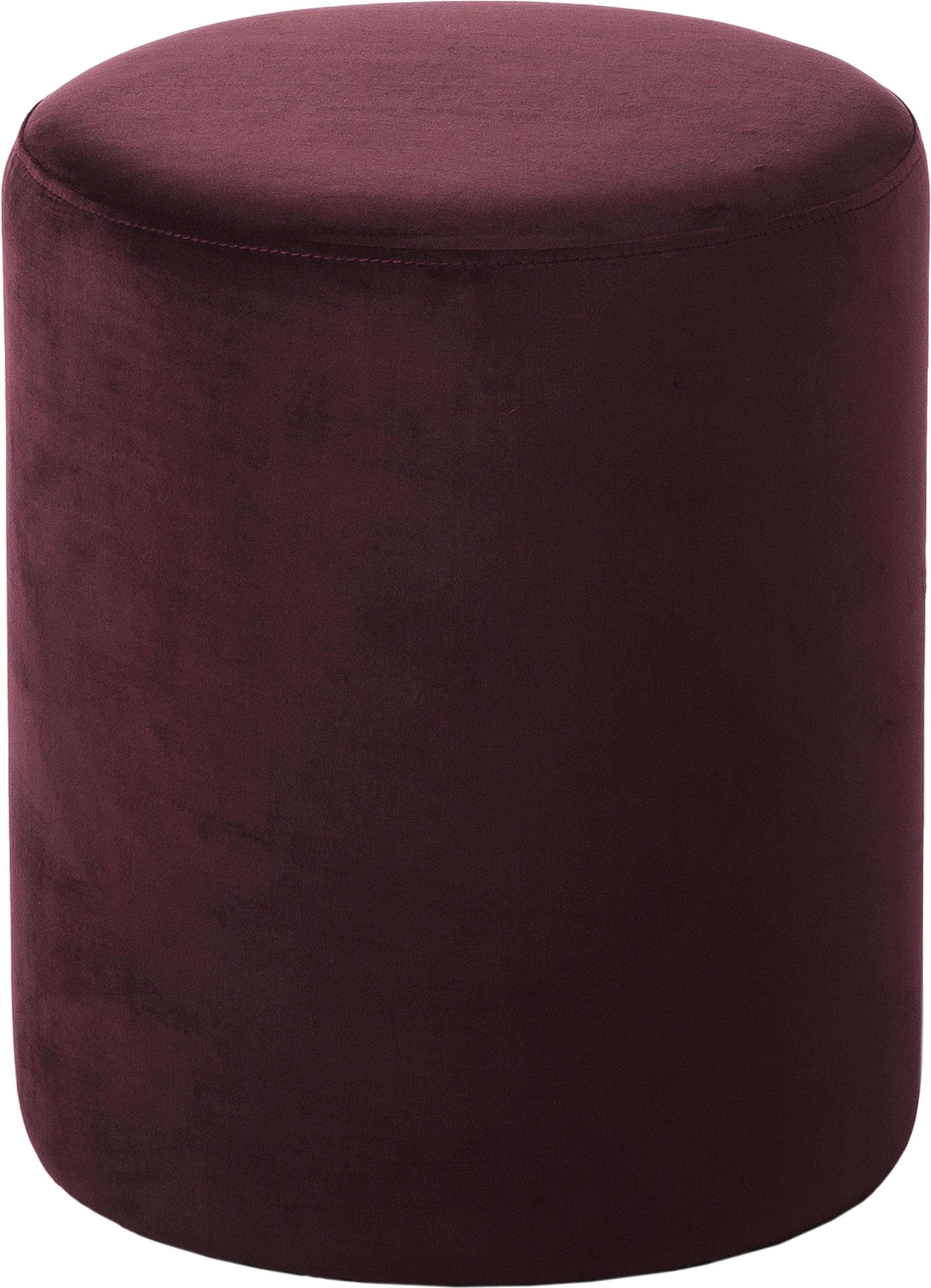 Samt-Hocker Daisy, Bezug: Samt (Polyester) 15.000 S, Rahmen: Mitteldichte Holzfaserpla, Samt Dunkelrot, ∅ 38 x H 45 cm