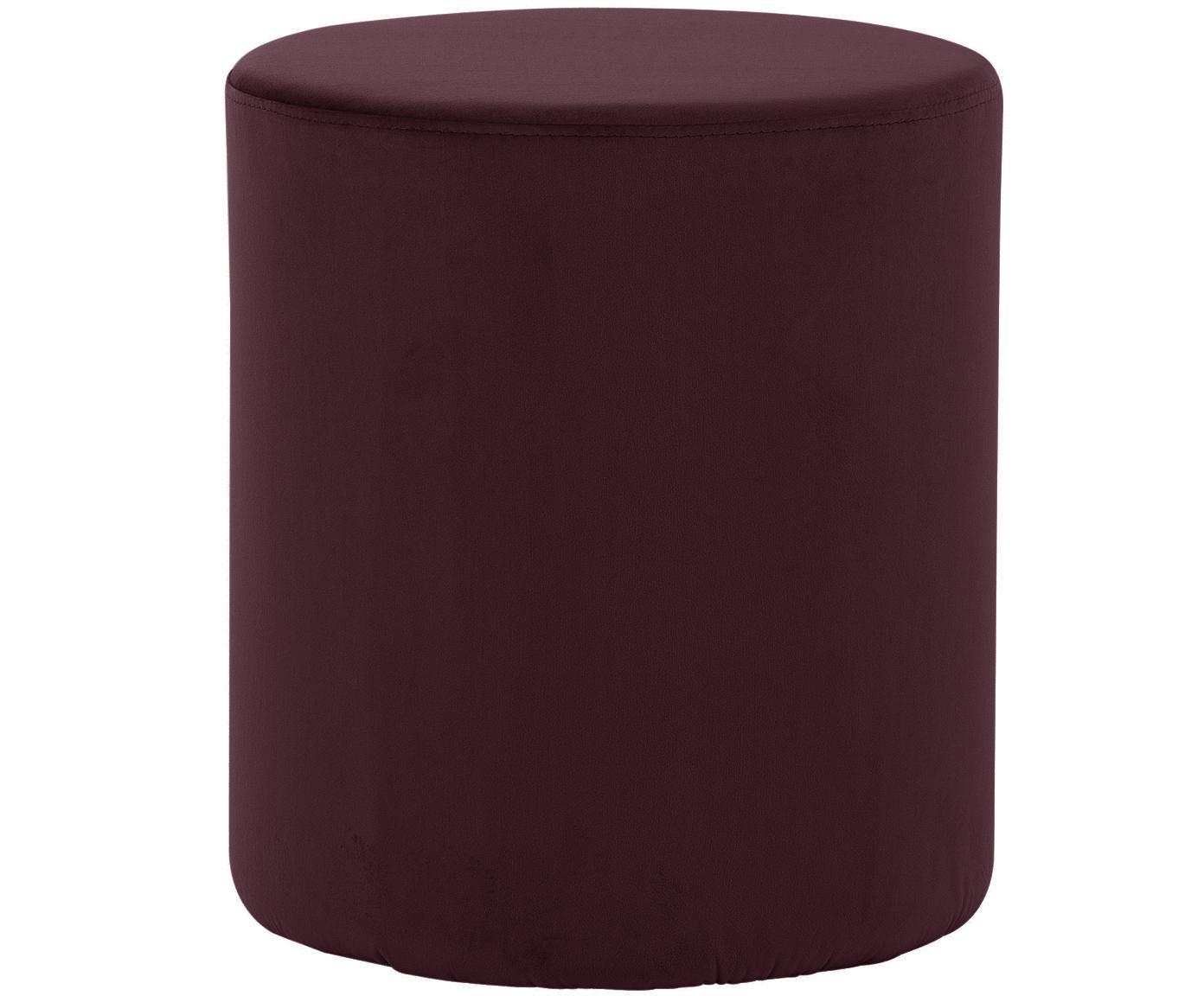 Pouf in velluto Daisy, Rivestimento: velluto (poliestere) 15.0, Struttura: pannello di fibra a media, Rosso scuro, Ø 38 x Alt. 46 cm