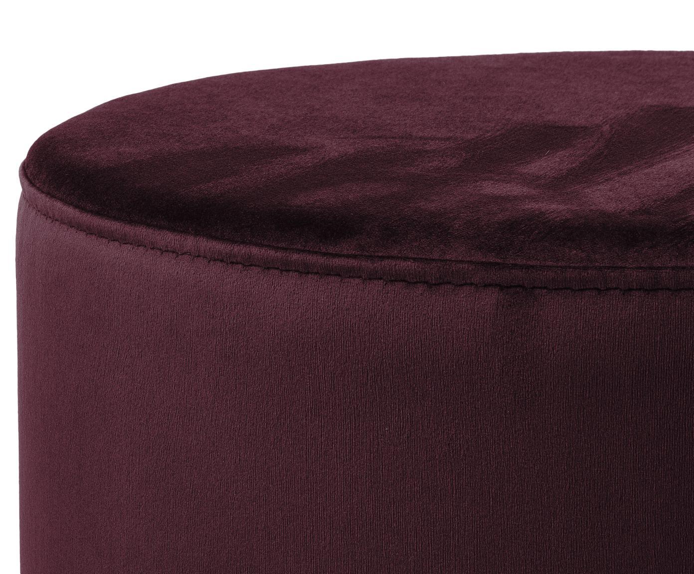 Puf z aksamitu Daisy, Tapicerka: aksamit (poliester) Tkani, Ciemny czerwony, Ø 38 x W 46 cm