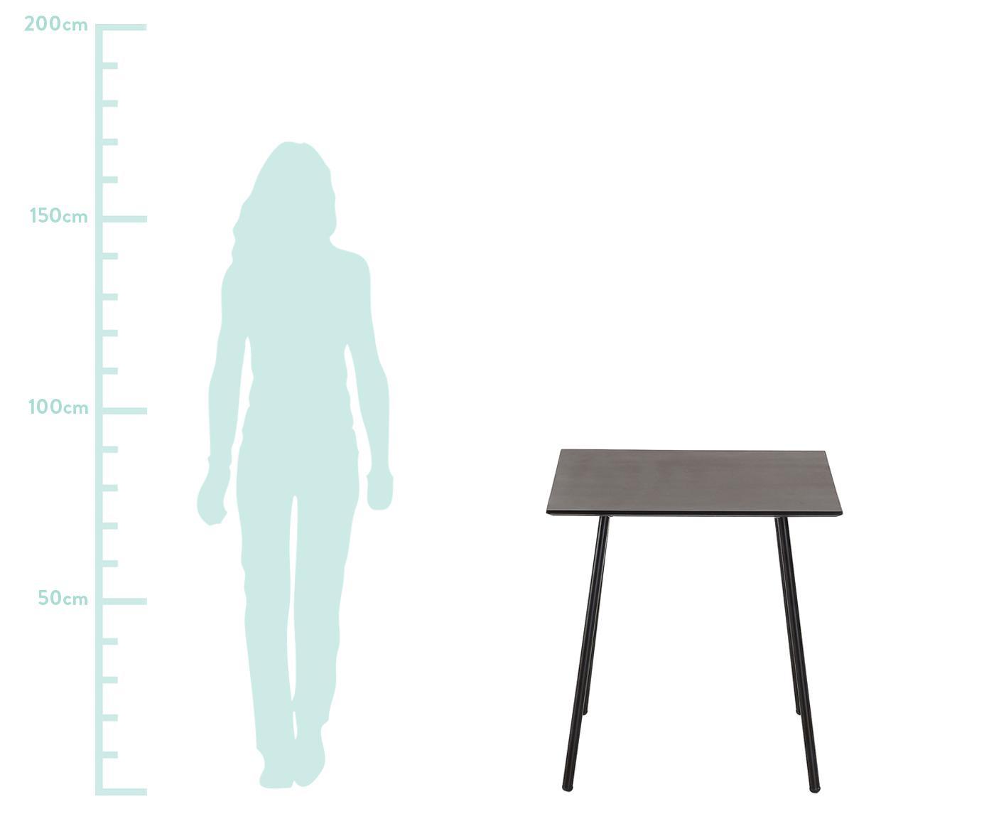 Mały stół do balkonowy z metalu Mathis, Blat: poli-cement, Nogi: metal malowany proszkowo, Czarny, S 75 x W 75 cm