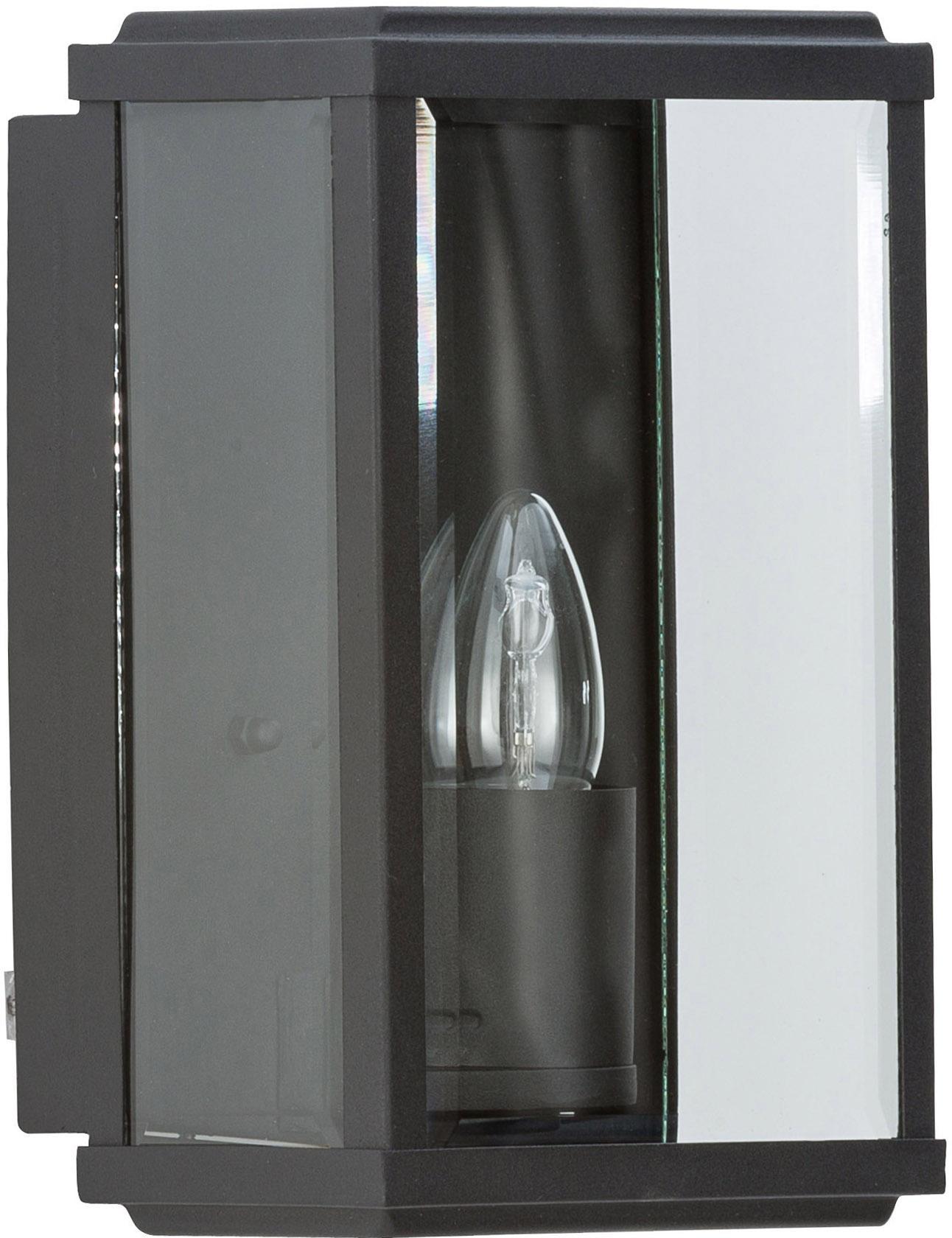 Outdoor wandlamp Wally in industrieel design, Edelstaal, gepoedercoat met glazen inleg, Zwart, transparant, 16 x 25 cm