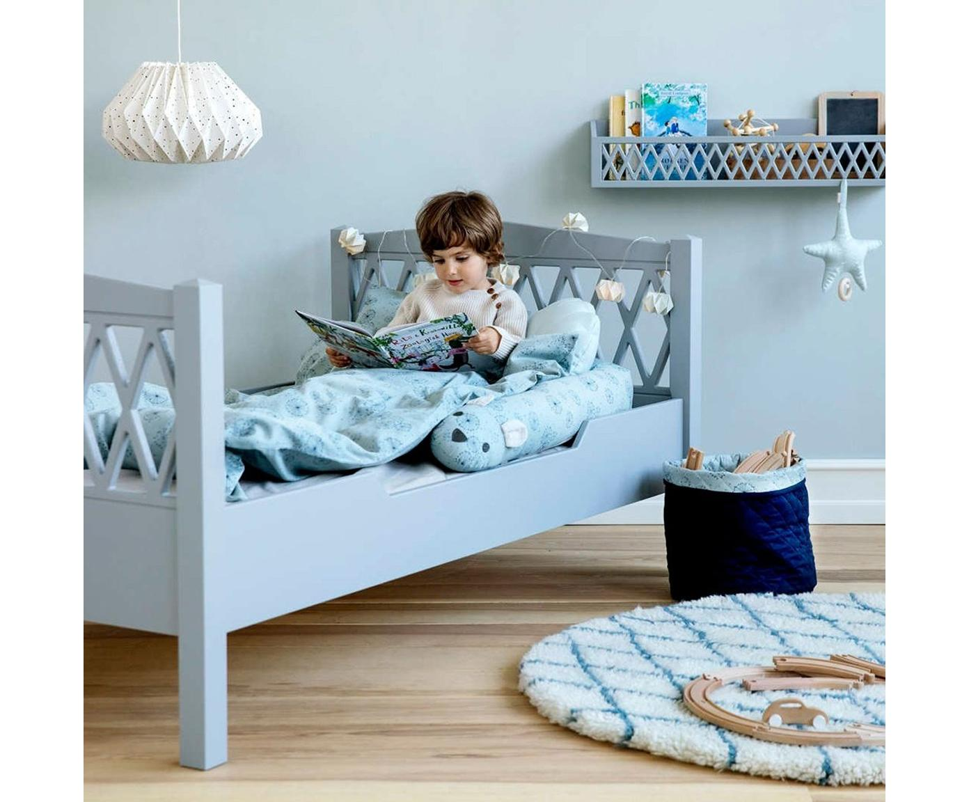 Kinderbett Harlequin, Holz, lackiert, Grau, 100 x 170 cm