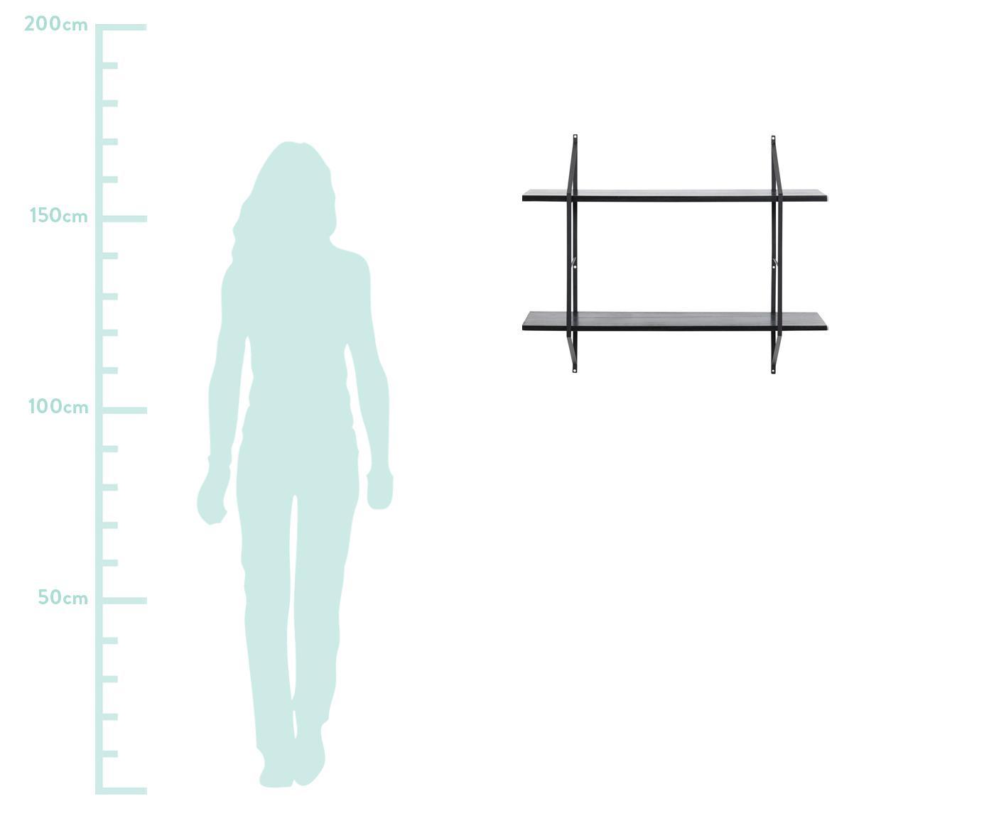 Klein wandrek Belfast van hout en metaal, Frame: gepoedercoat metaal, Plateaus: paulowniahout, gebeitst, Zwart, 76 x 63 cm