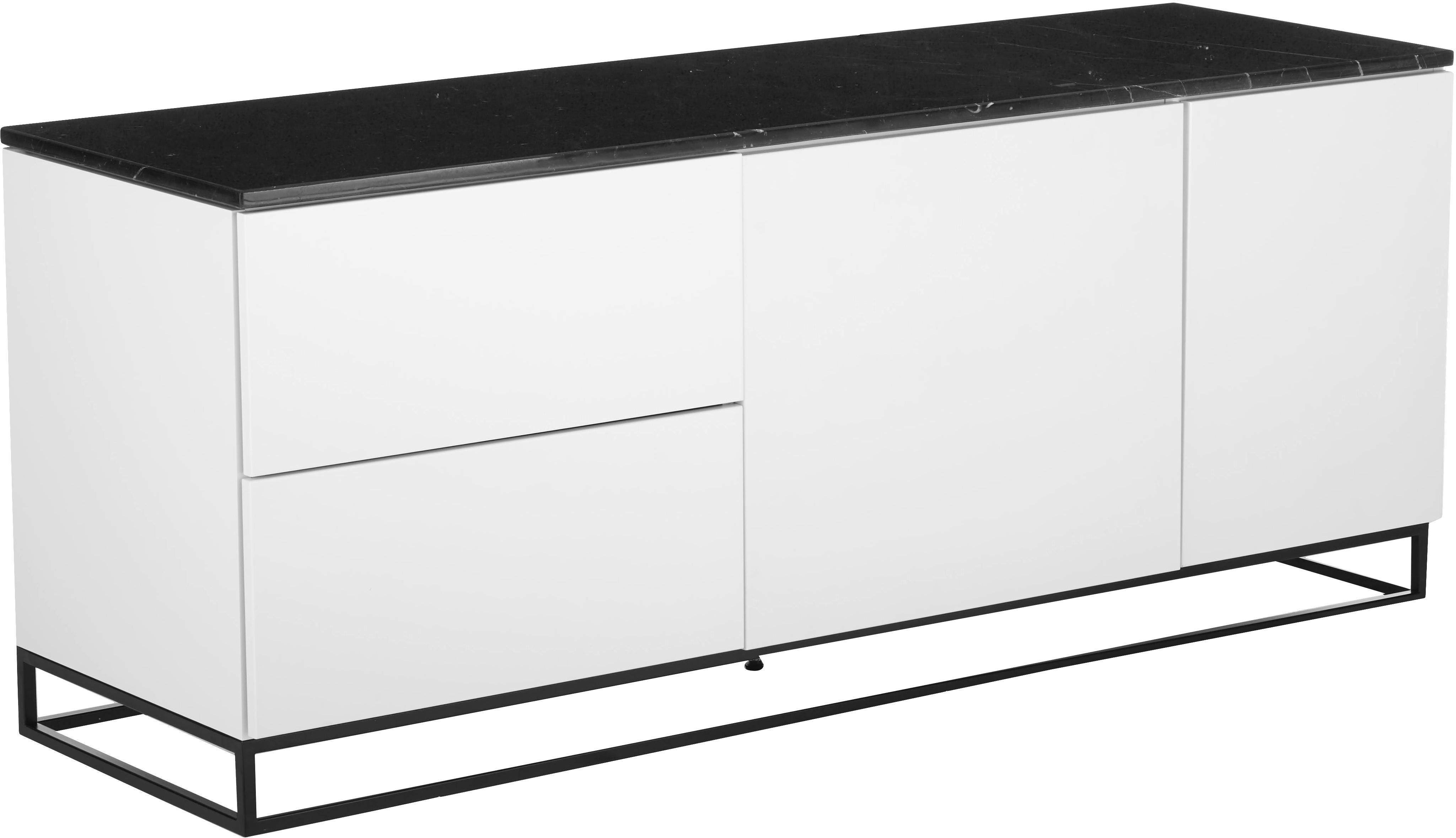 Dressoir Join met zwart marmeren blad, Plank: marmer, Frame: gelakt MDF, Poten: gelakt metaal, Wit, zwart, 160 x 66 cm