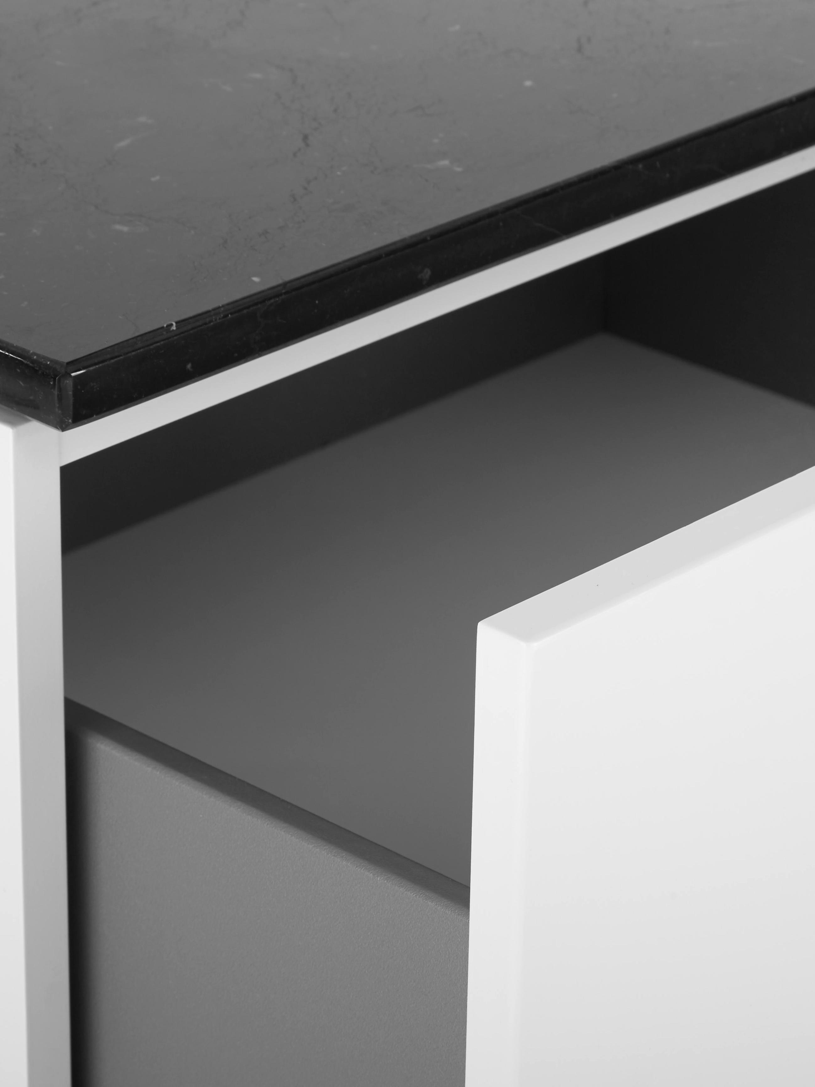 Sideboard Join mit schwarzer Marmorplatte, Ablagefläche: Marmor, Korpus: Mitteldichte Holzfaserpla, Füße: Metall, lackiert, Weiß, Schwarz, 160 x 66 cm