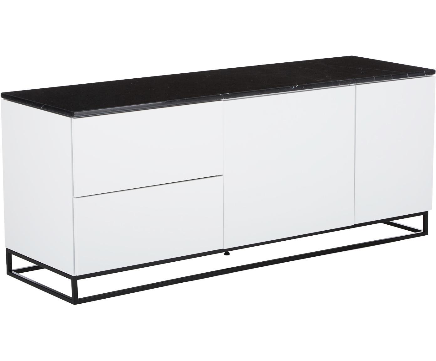 Credenza con piano in marmo Join, Mensola: marmo, Piedini: metallo verniciato, Bianco, nero, Larg. 160 x Alt. 66 cm