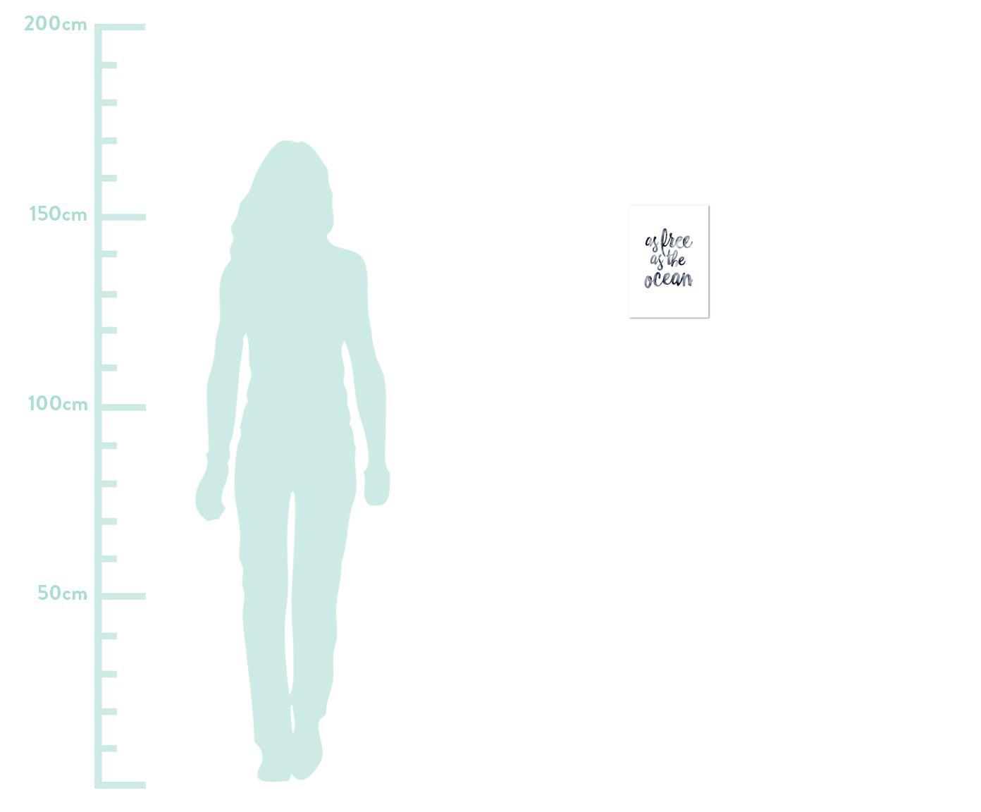 Poster As Free As The Ocean, Digitaldruck auf Papier, 200 g/m², Dunkelblau, Weiß, 21 x 30 cm