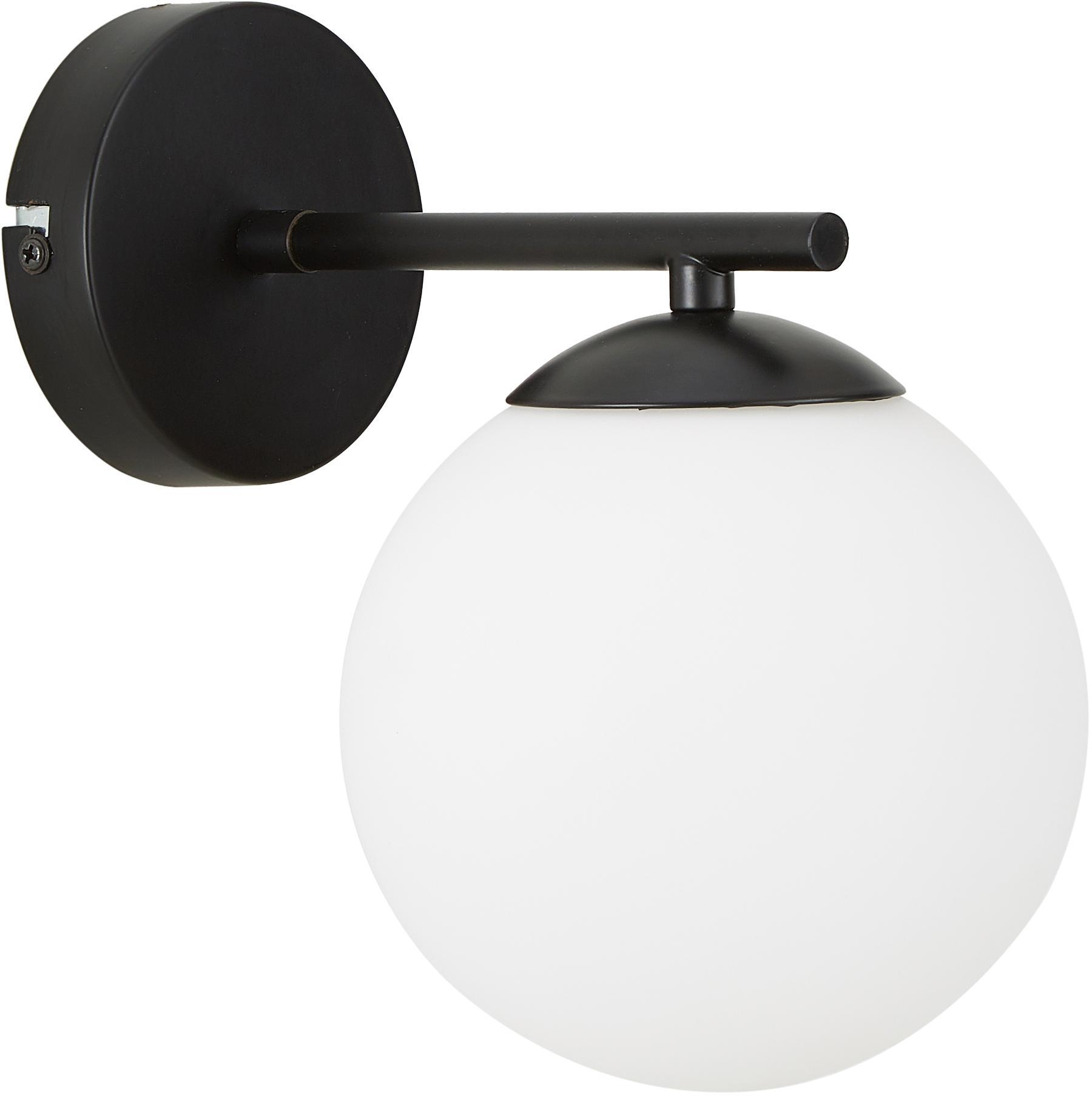 Wandleuchte Liv aus Opalglas, Lampenschirm: Glas, Weiß, Schwarz, 15 x 22 cm