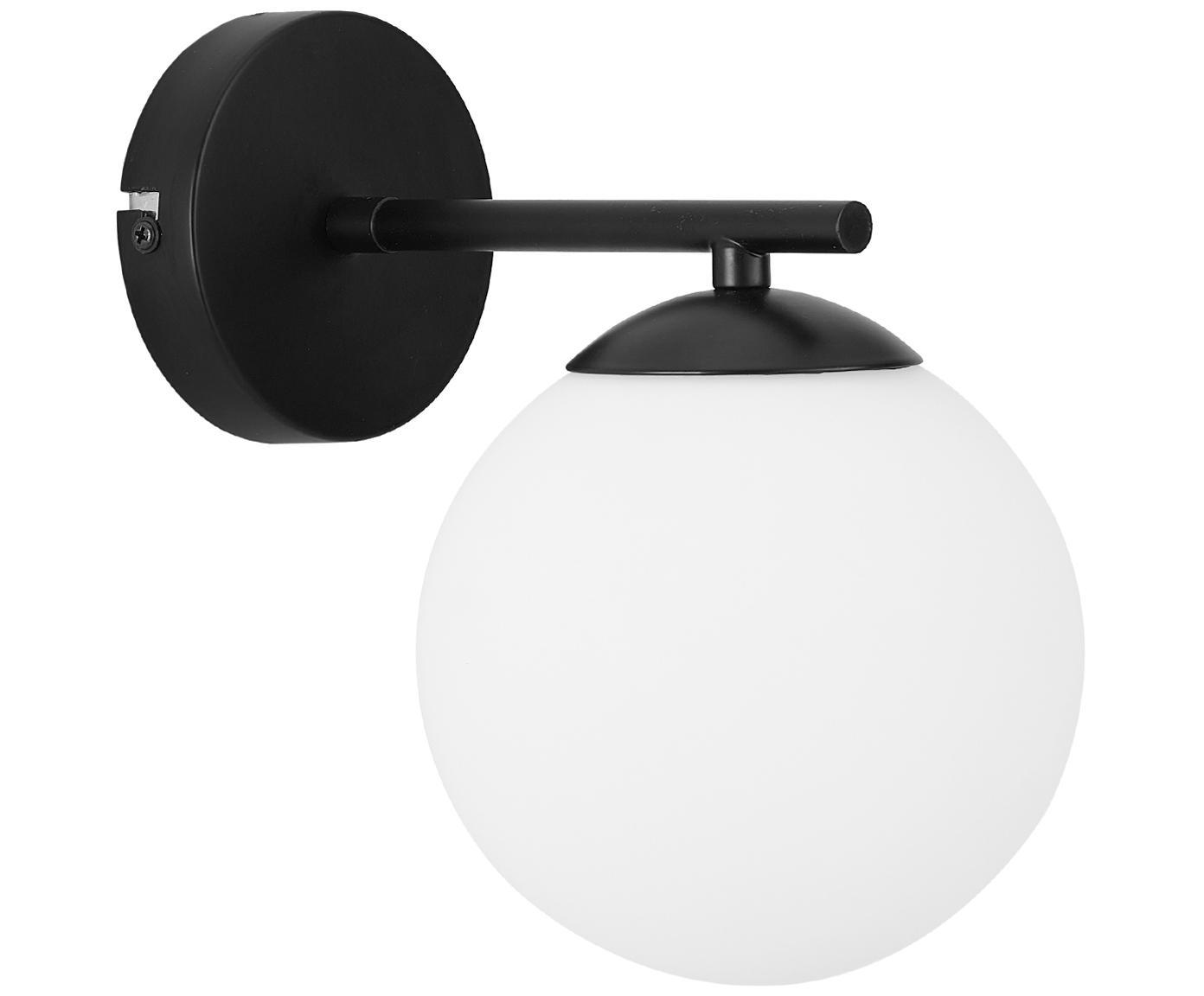 Wandlamp Liv, Lampenkap: glas, Wit, zwart, 15 x 22 cm