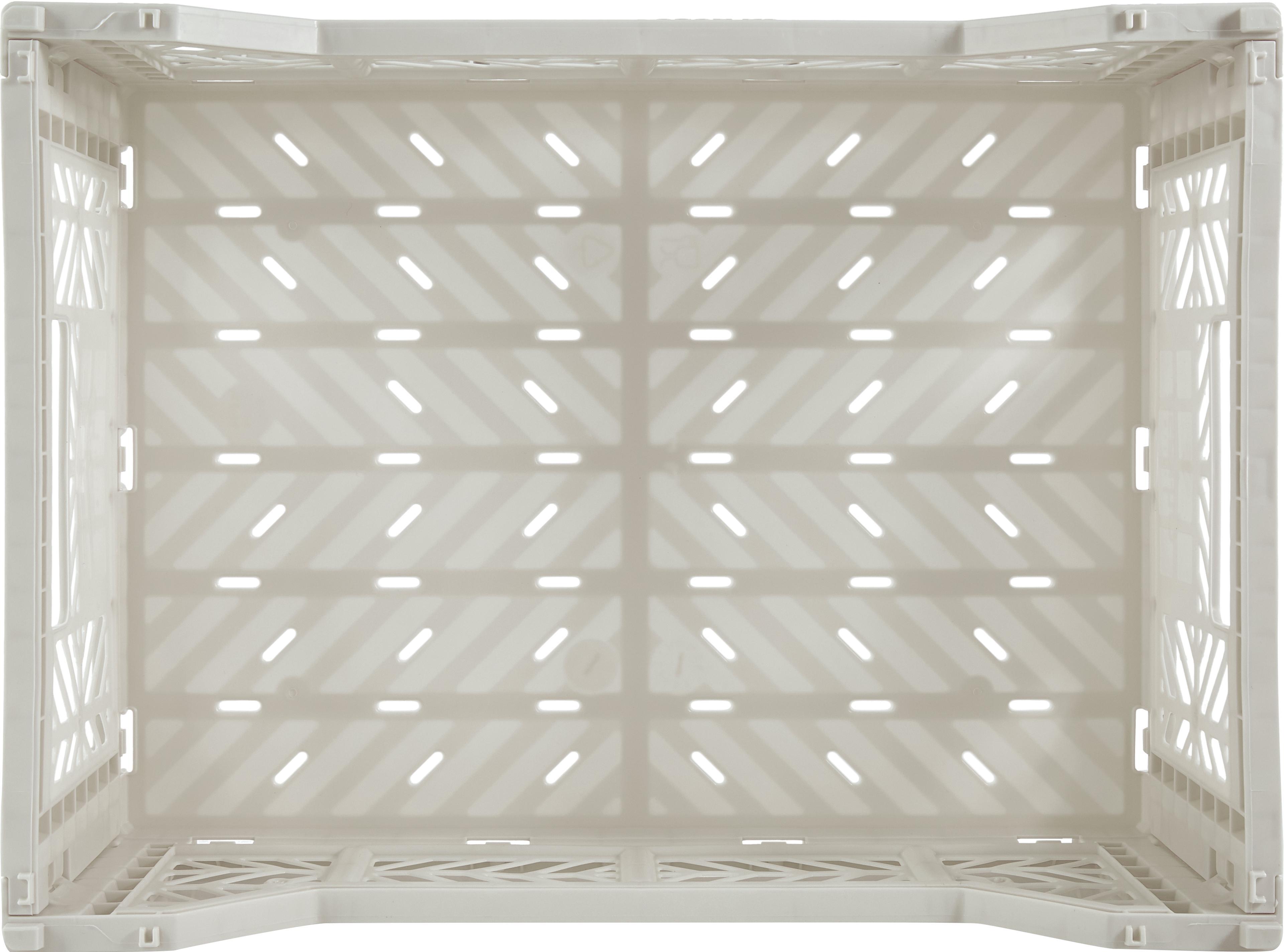 Cesto medio pieghevole e impilabile Light, Materiale sintetico riciclato, Grigio chiaro, Larg. 40 x Alt. 14 cm