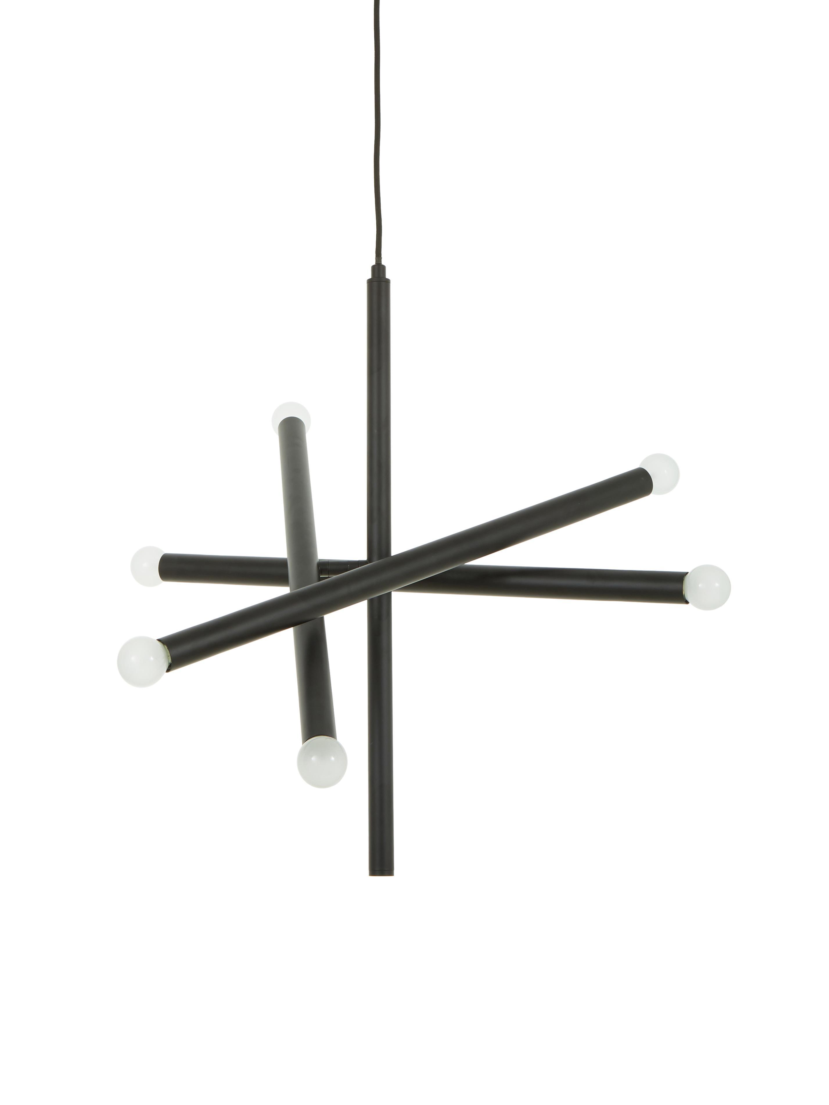 Lámpara de techo Sticks, Anclaje: metal con pintura en polv, Cable: plástico, Latón, An 60 cm