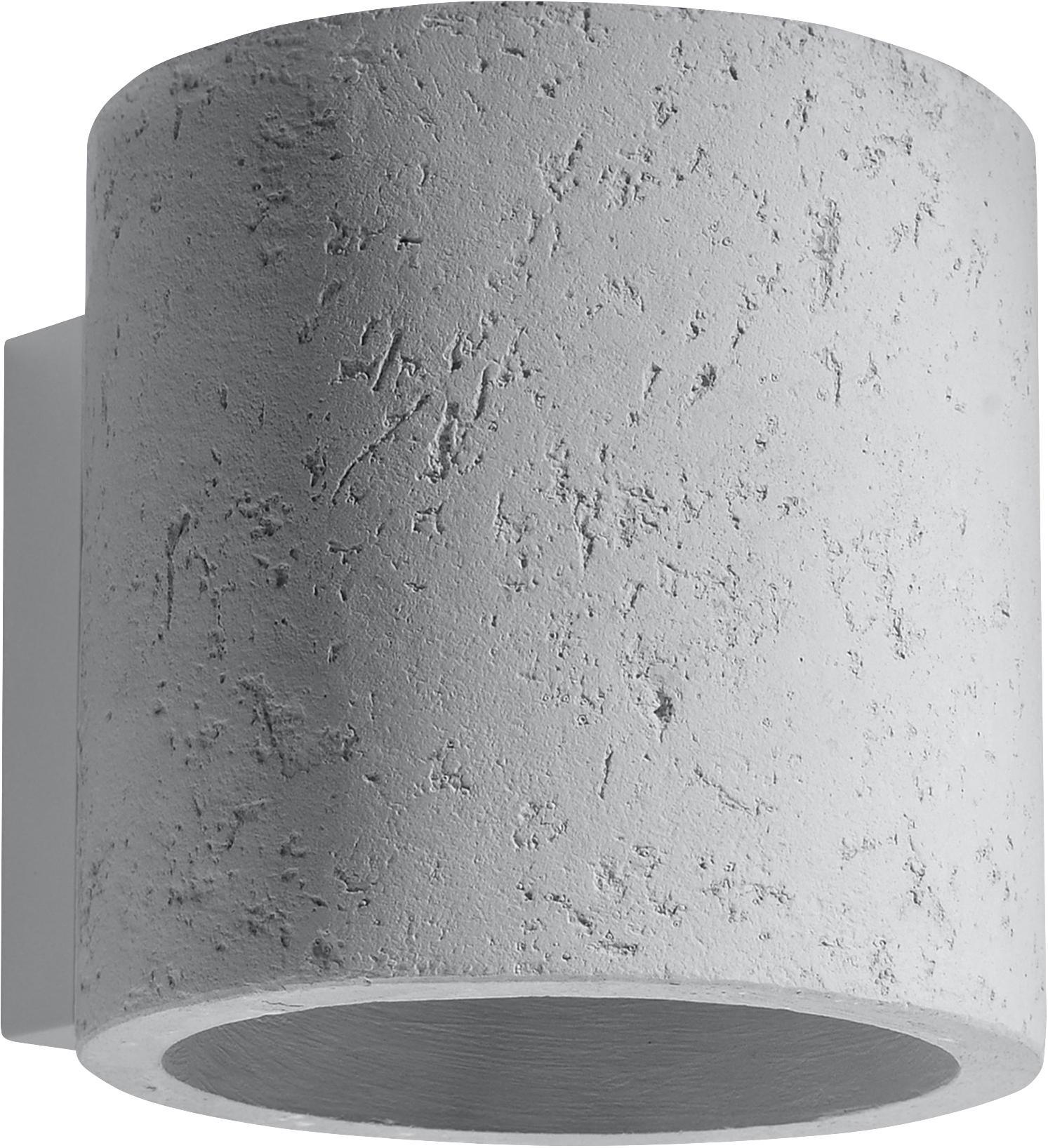 Wandleuchte Roda aus Beton, Beton, Gebrochenes Weiß, Ø 10 x H 12 cm
