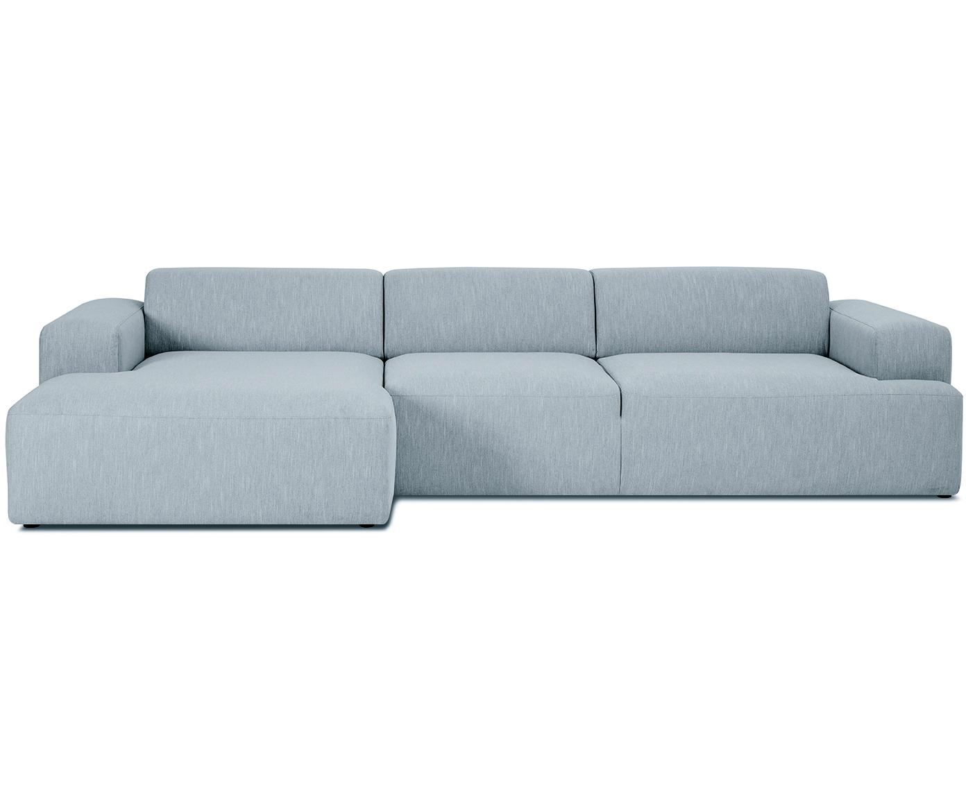 Hoekbank Melva (4-zits), Bekleding: polyester, Frame: massief grenenhout, spaan, Poten: grenenhout, Geweven stof blauwgrijs, B 319 x D 144 cm