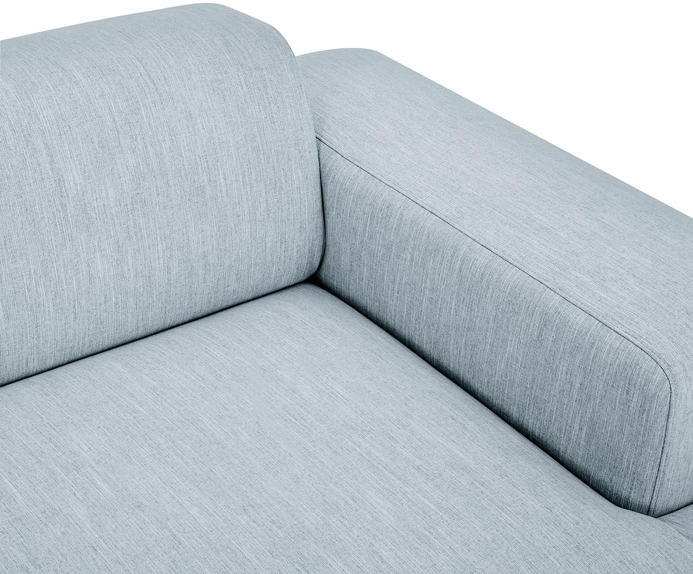 Ecksofa Melva (4-Sitzer), Bezug: Polyester 35.000 Scheuert, Gestell: Massives Kiefernholz, Spa, Füße: Kiefernholz, Webstoff Blaugrau, B 319 x T 144 cm