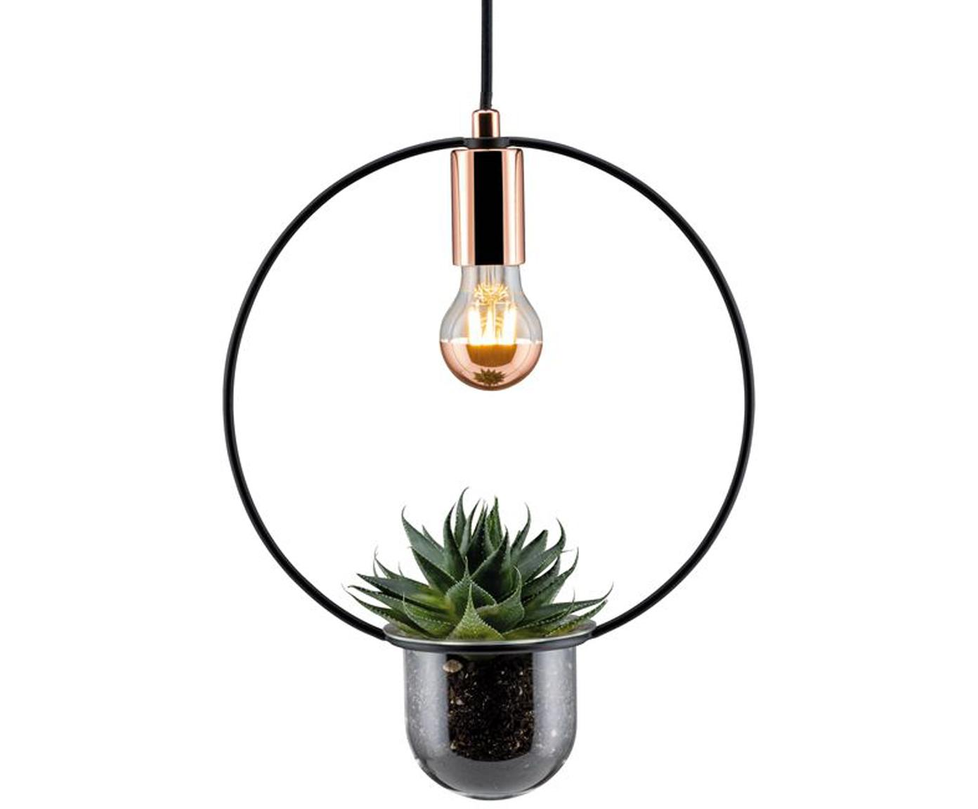 Hanglamp Tasja met plantenpot, Zwart, koperkleurig, 30 x 44 cm