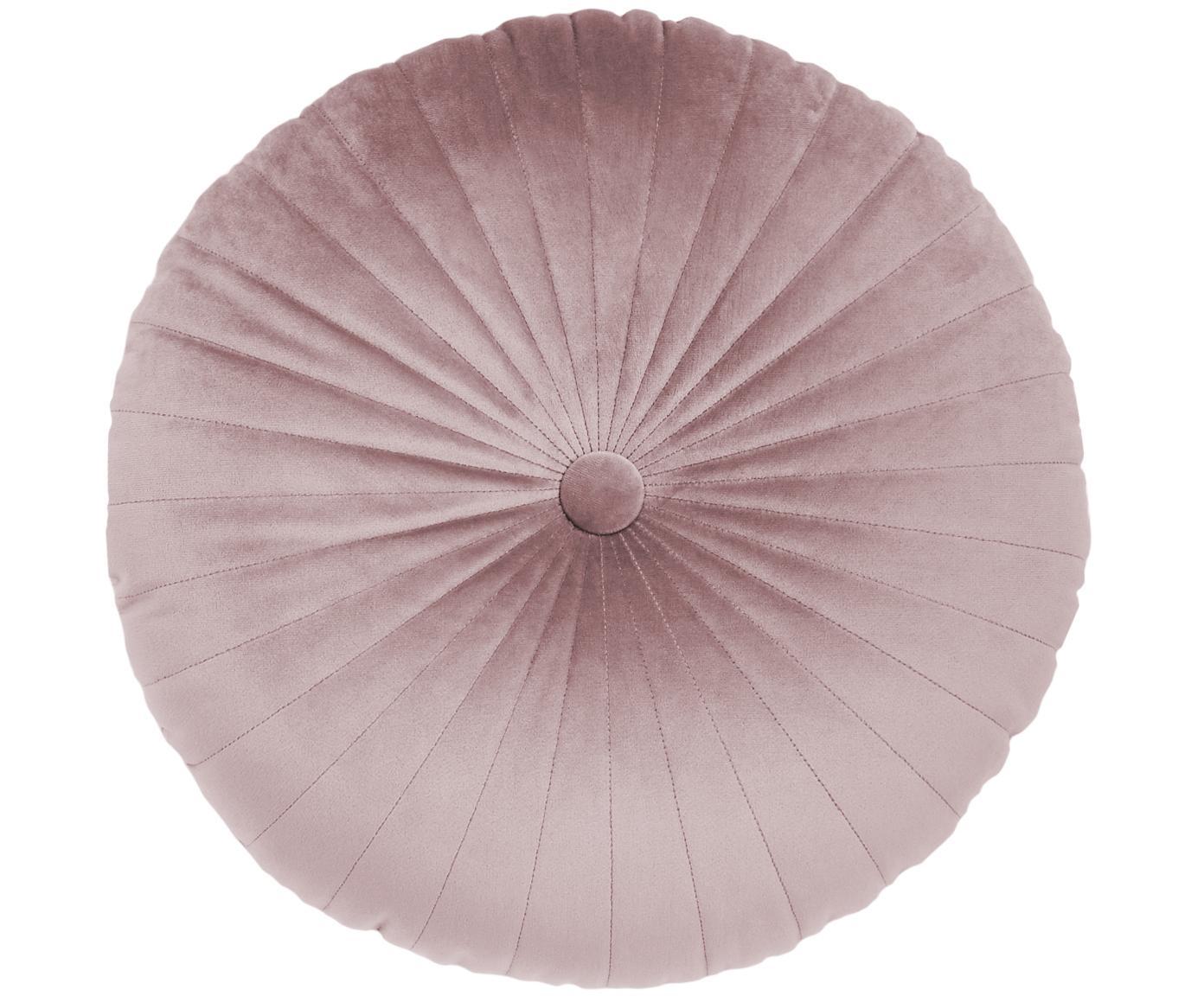 Rundes glänzendes Samt-Kissen Monet, mit Inlett, Bezug: 100% Polyestersamt, Altrosa, Ø 40 cm