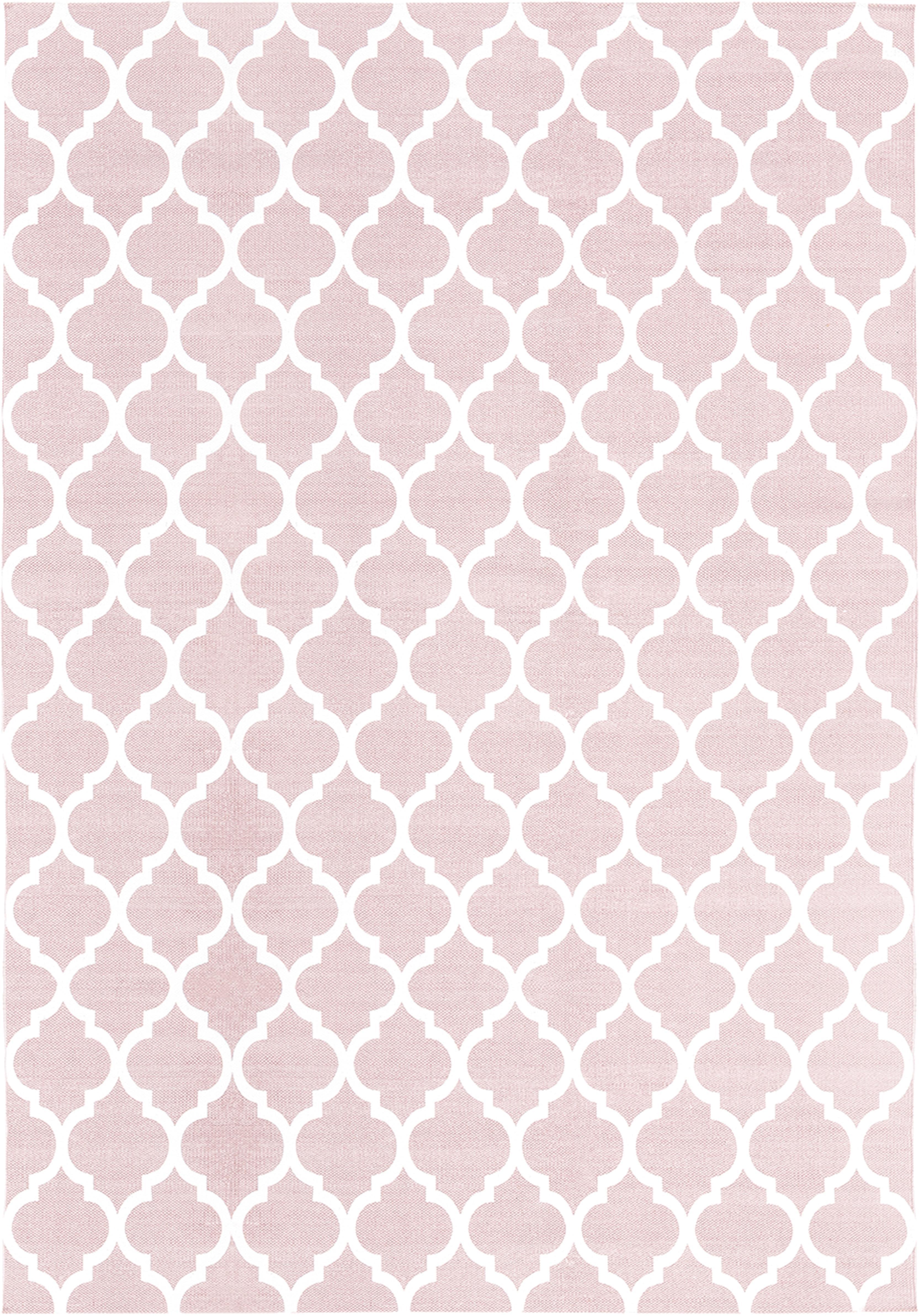 Flachgewebter Baumwollteppich Amira in Rosa/Weiss, 100% Baumwolle, Rosa, Cremeweiss, B 160 x L 230 cm (Grösse M)