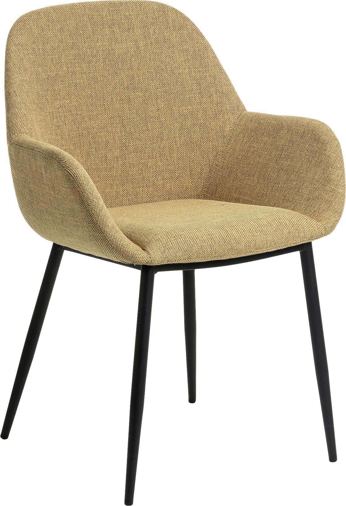 Sedia con braccioli Kona 2 pz, Rivestimento: poliestere 50.000 cicli d, Gambe: metallo verniciato, Giallo senape, nero, Larg. 59 x Prof. 52 cm