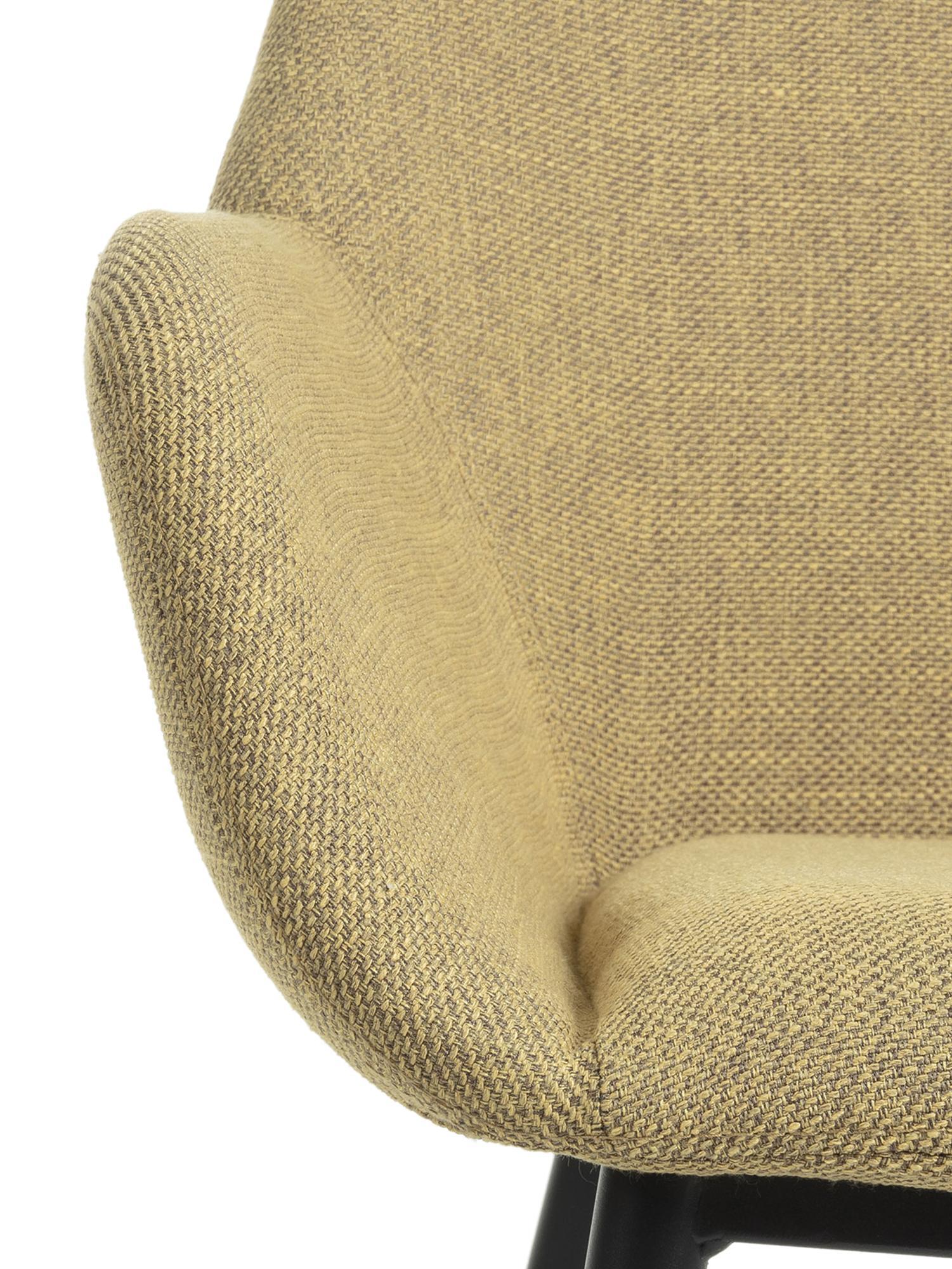 Armlehnstühle Kona, 2 Stück, Bezug: Polyester 50.000 Scheuert, Beine: Metall, lackiert, Webstoff Senfgelb, B 59 x T 56 cm