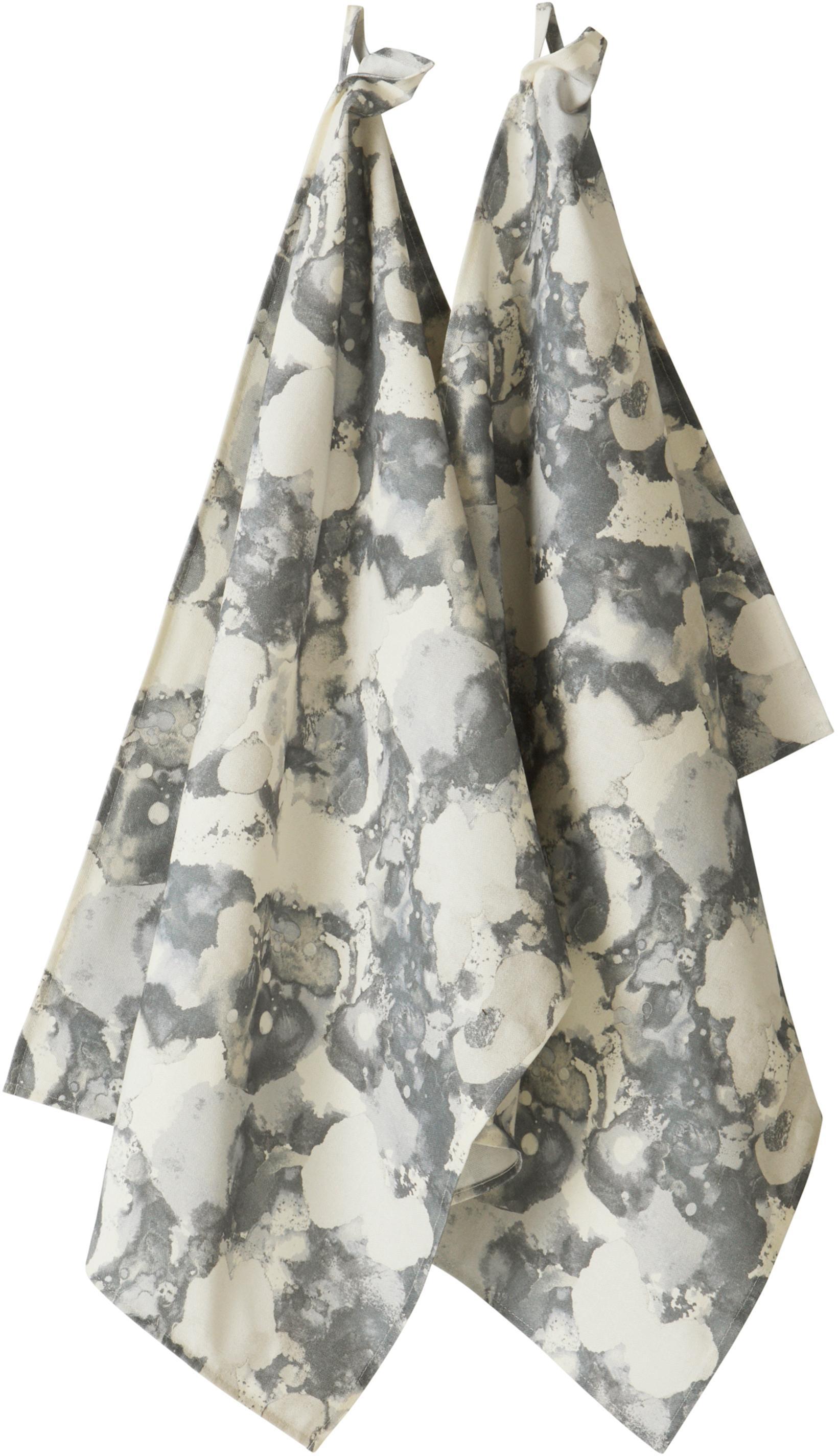 Ręcznik kuchenny Baldwin, 2 szt., 100% bawełna pochodząca ze zrównoważonych upraw, Kremowy, szary, S 50 x D 70 cm