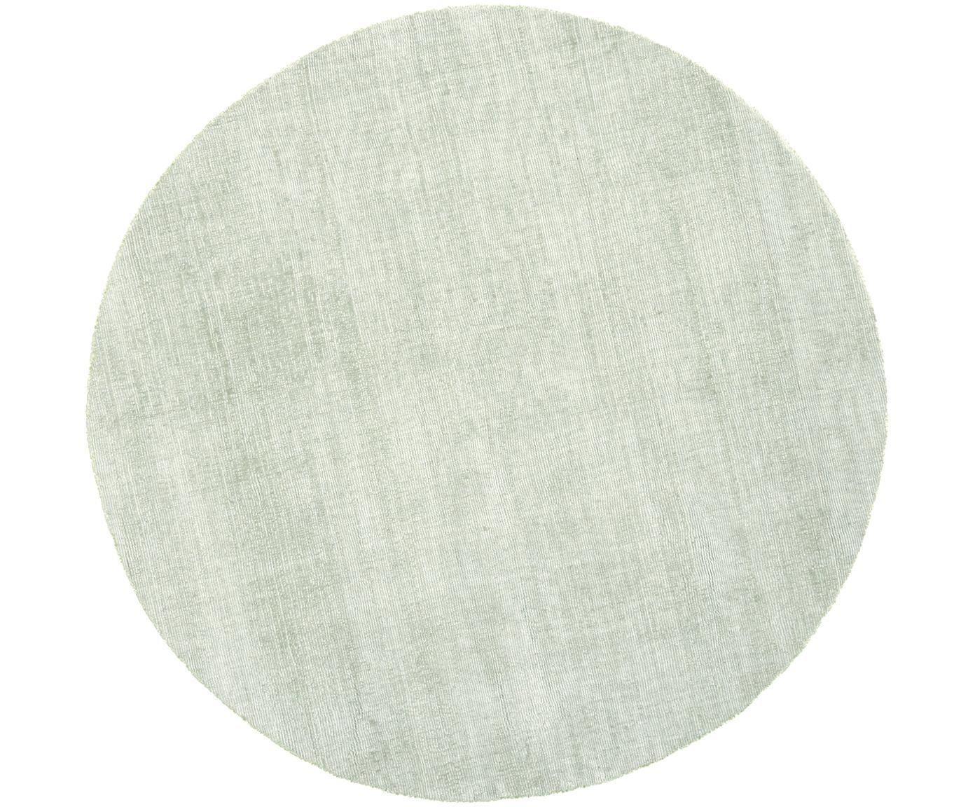 Runder Viskoseteppich Jane in Mintgrün, handgewebt, Flor: 100% Viskose, Mintgrün, Ø 200 cm (Grösse L)