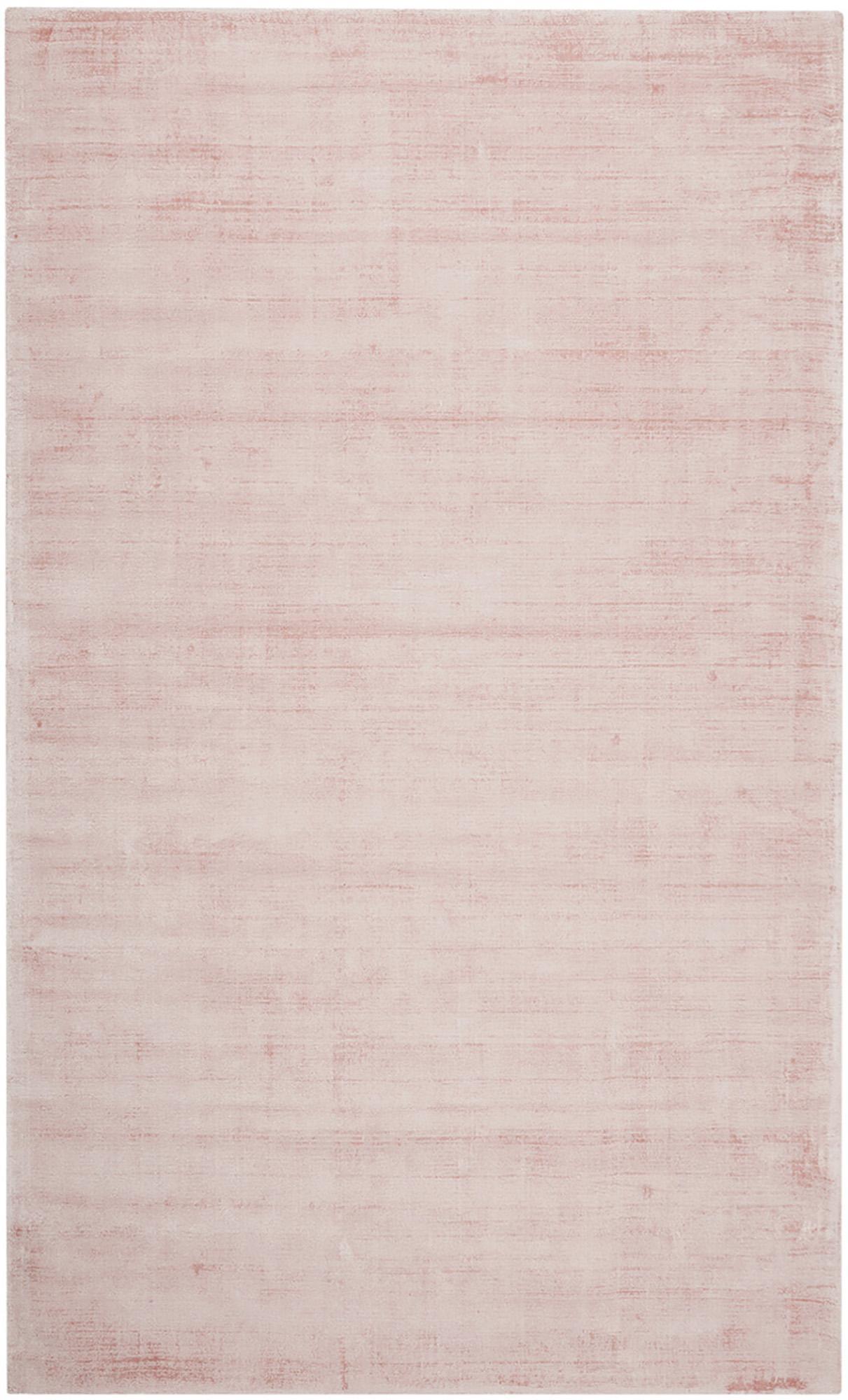 Handgeweven viscose vloerkleed Jane in roze, Bovenzijde: 100% viscose, Onderzijde: 100% katoen, Roze, B 90 x L 150 cm (maat XS)