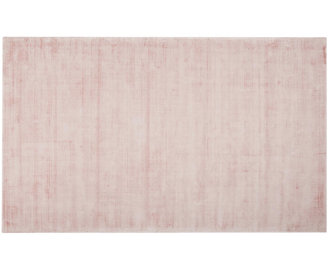 Handgeweven viscose vloerkleed Jane, Bovenzijde: 100% viscose, Onderzijde: 100% katoen, Roze, 90 x 150 cm