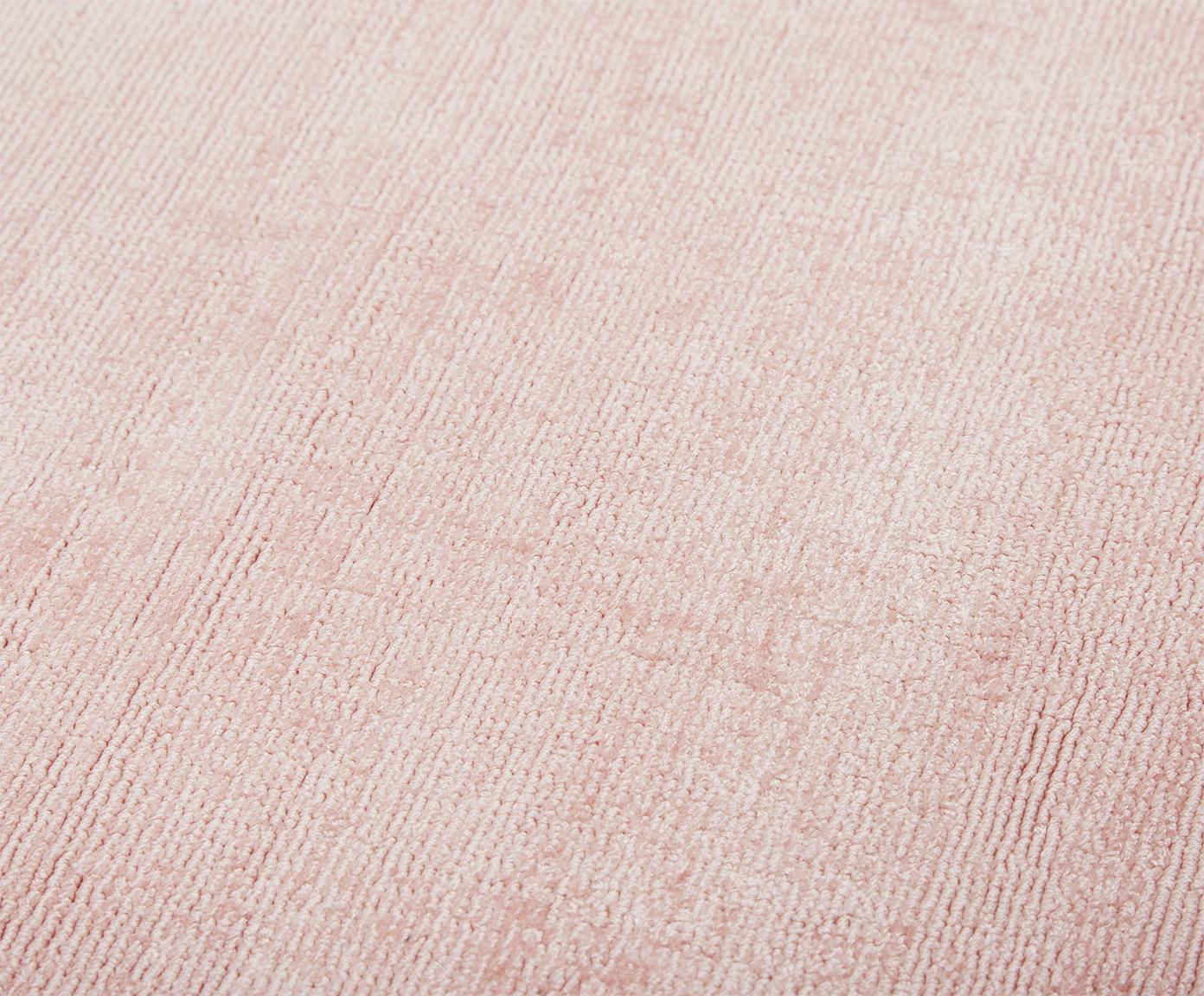 Handgeweven viscose vloerkleed Jane, Bovenzijde: 100% viscose, Onderzijde: 100% katoen, Roze, 200 x 300 cm