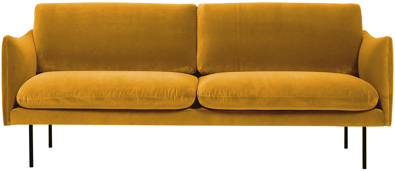 Sofá de terciopelo Moby (2plazas), Tapizado: terciopelo (poliéster de , Estructura: madera de pino maciza, Patas: metal con pintura en polv, Terciopelo mostaza, An 170 x F 95 cm