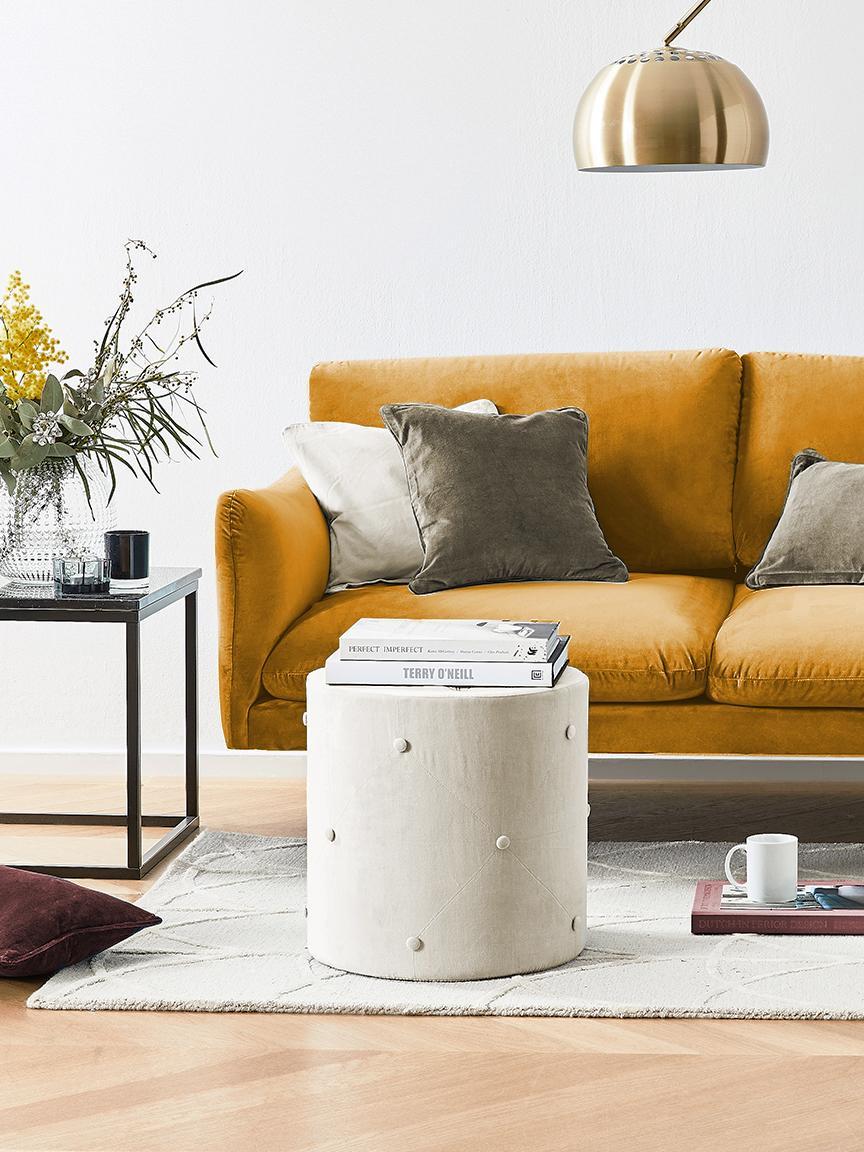 Samt-Sofa Moby (2-Sitzer), Bezug: Samt (Hochwertiger Polyes, Gestell: Massives Kiefernholz, Füße: Metall, pulverbeschichtet, Samt Senfgelb, B 170 x T 95 cm