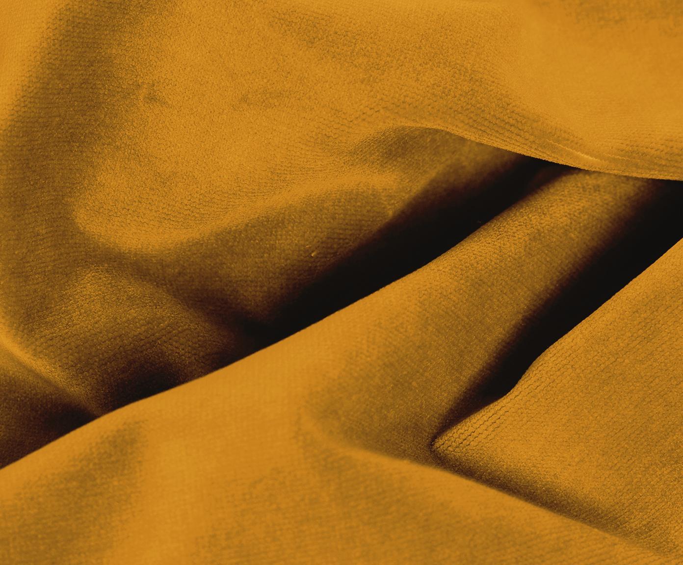 Sofa z aksamitu Moby (2-osobowa), Tapicerka: aksamit (wysokiej jakości, Stelaż: lite drewno sosnowe, Nogi: metal malowany proszkowo, Aksamitny musztardowy, S 170 x G 95 cm