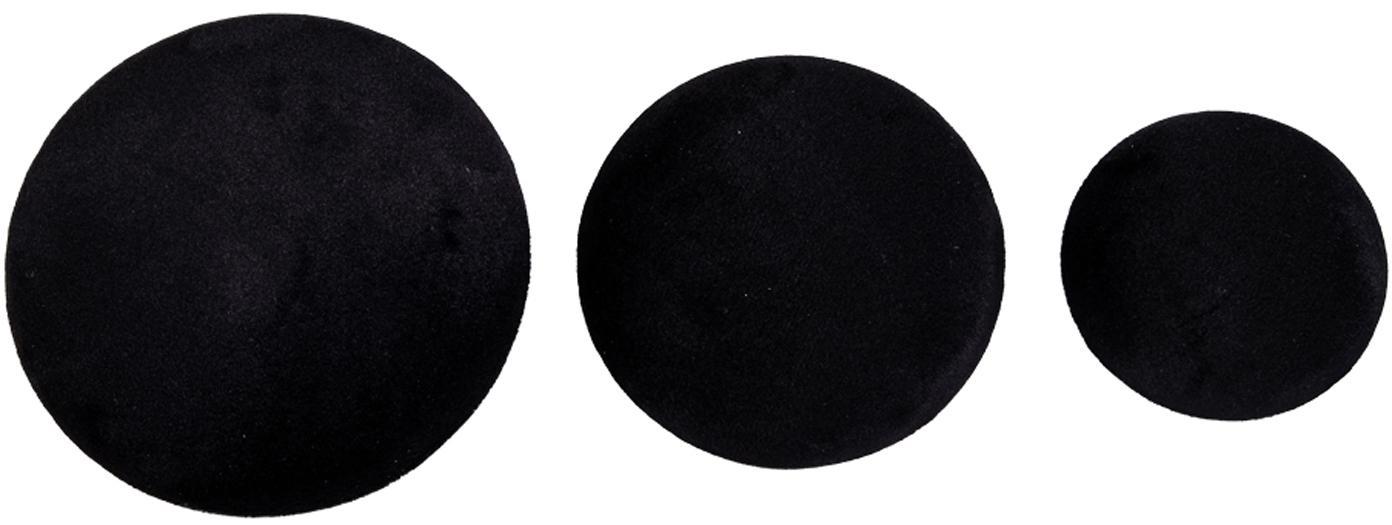 Komplet haków z aksamitu Giza, 3 elem., Aksamit, metal, Czarny, odcienie mosiądzu, Komplet z różnymi rozmiarami
