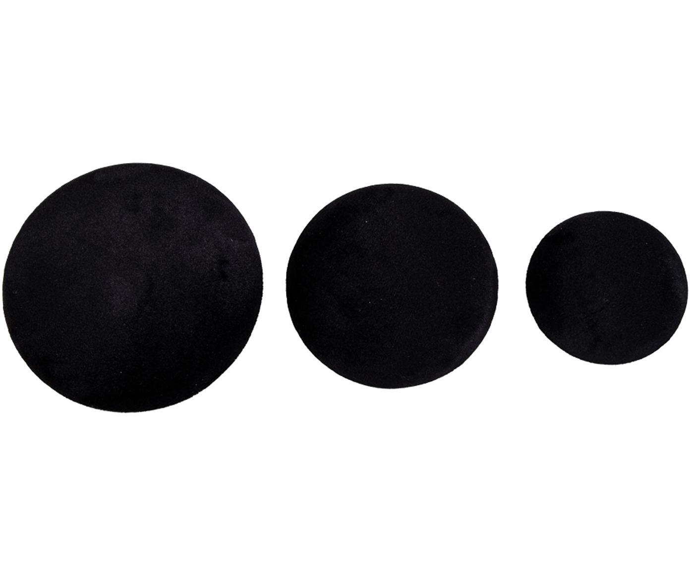 Komplet haków z aksamitu Giza, 3 elem., Aksamit, metal, Czarny, odcienie mosiądzu, Różne rozmiary