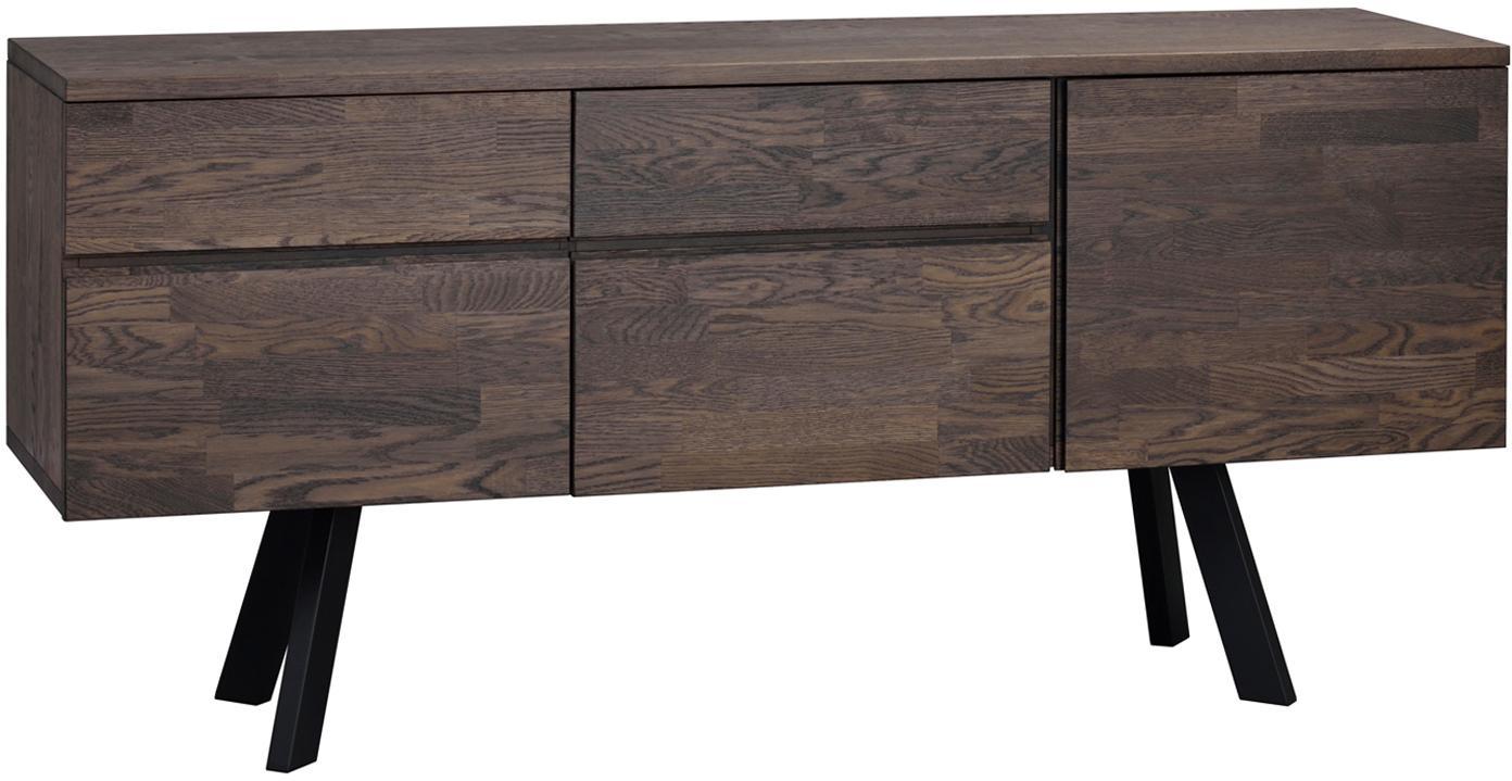 Credenza in legno di quercia Fred, Gambe: acciaio, laccato, Corpo e fronte: legno di quercia, grigio scuro tinto Gambe: nero, Larg. 170 x Alt. 79 cm