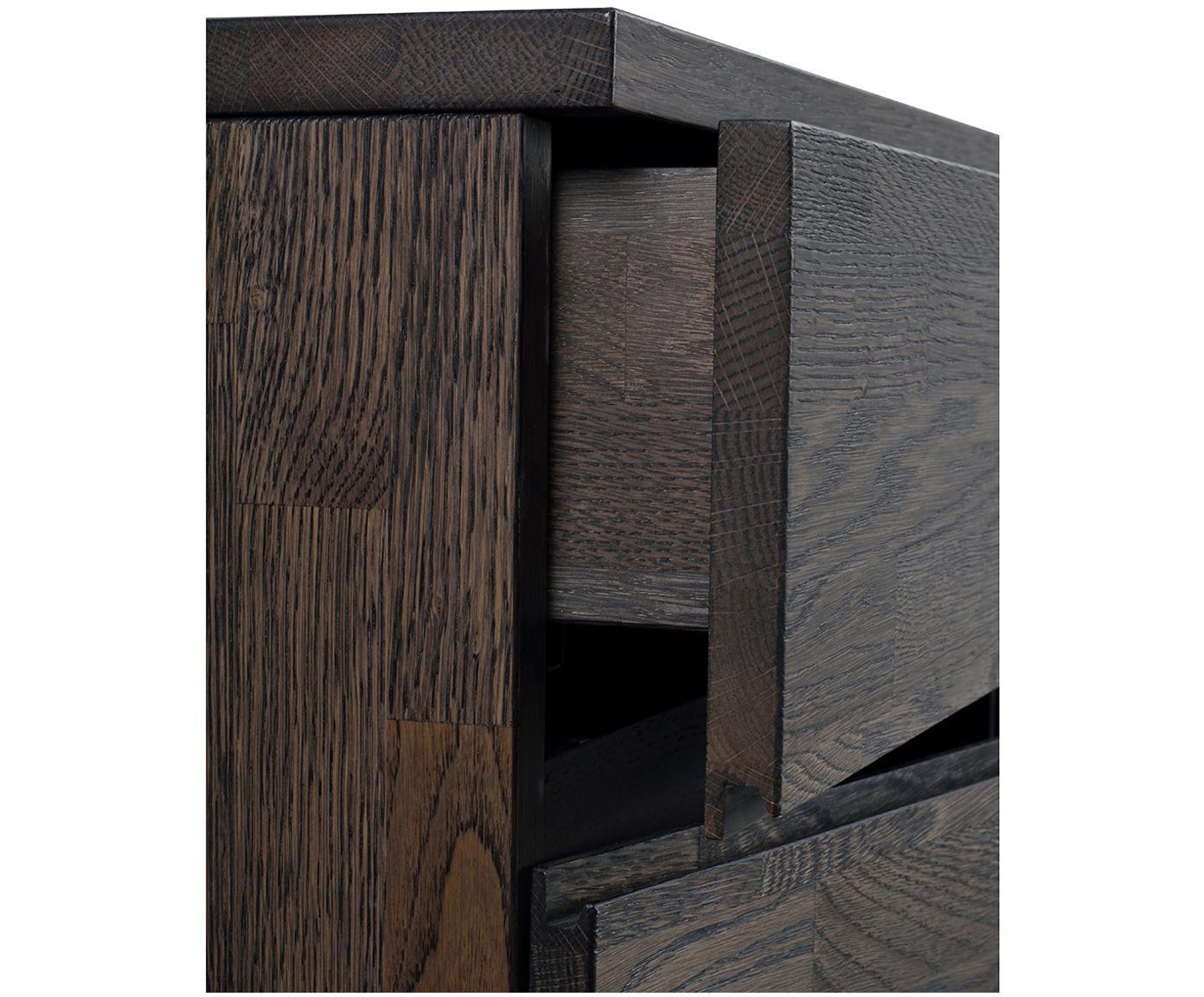 Sideboard Fred aus Eichenholz, dunkel, Beine: Stahl, lackiert, Korpus und Fronten: Eiche, Dunkelgrau gebeizt<br>Beine: Schwarz, 170 x 79 cm