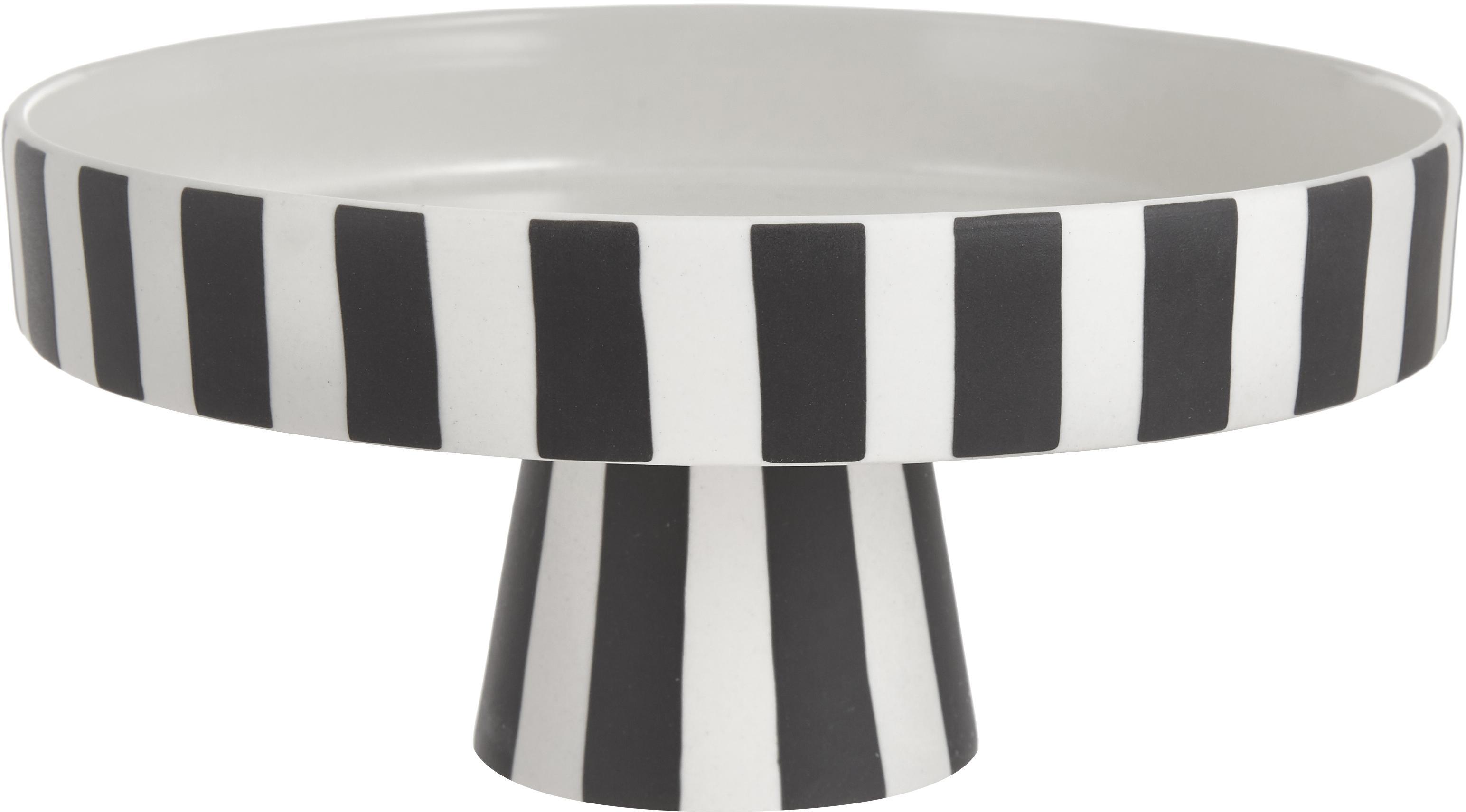 Servierplatte Toppu im Streifendesign, Keramik, Weiss, Schwarz, Ø 20 x H 9 cm