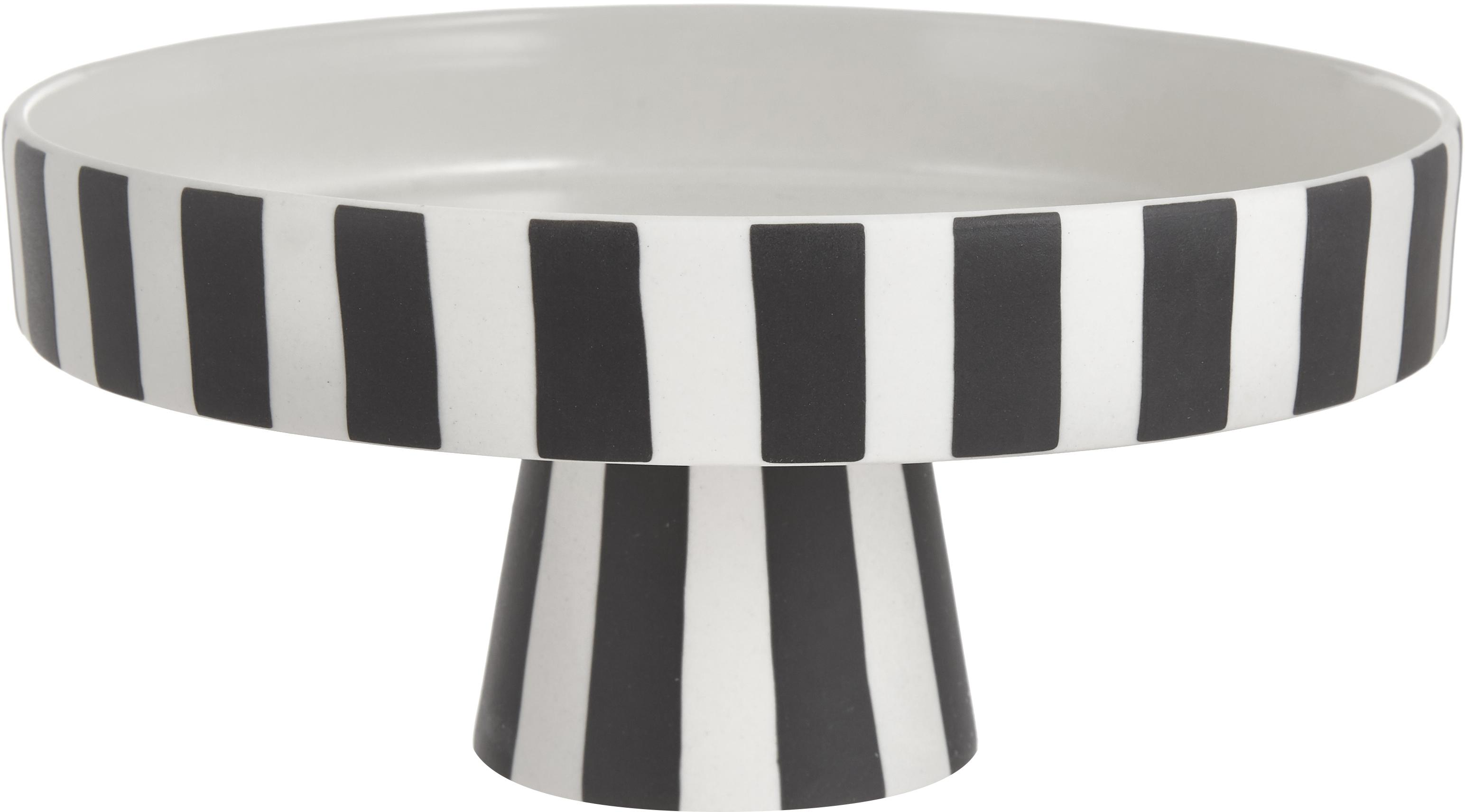 Taartplateau Toppu, Keramiek, Wit, zwart, Ø 20 x H 9 cm