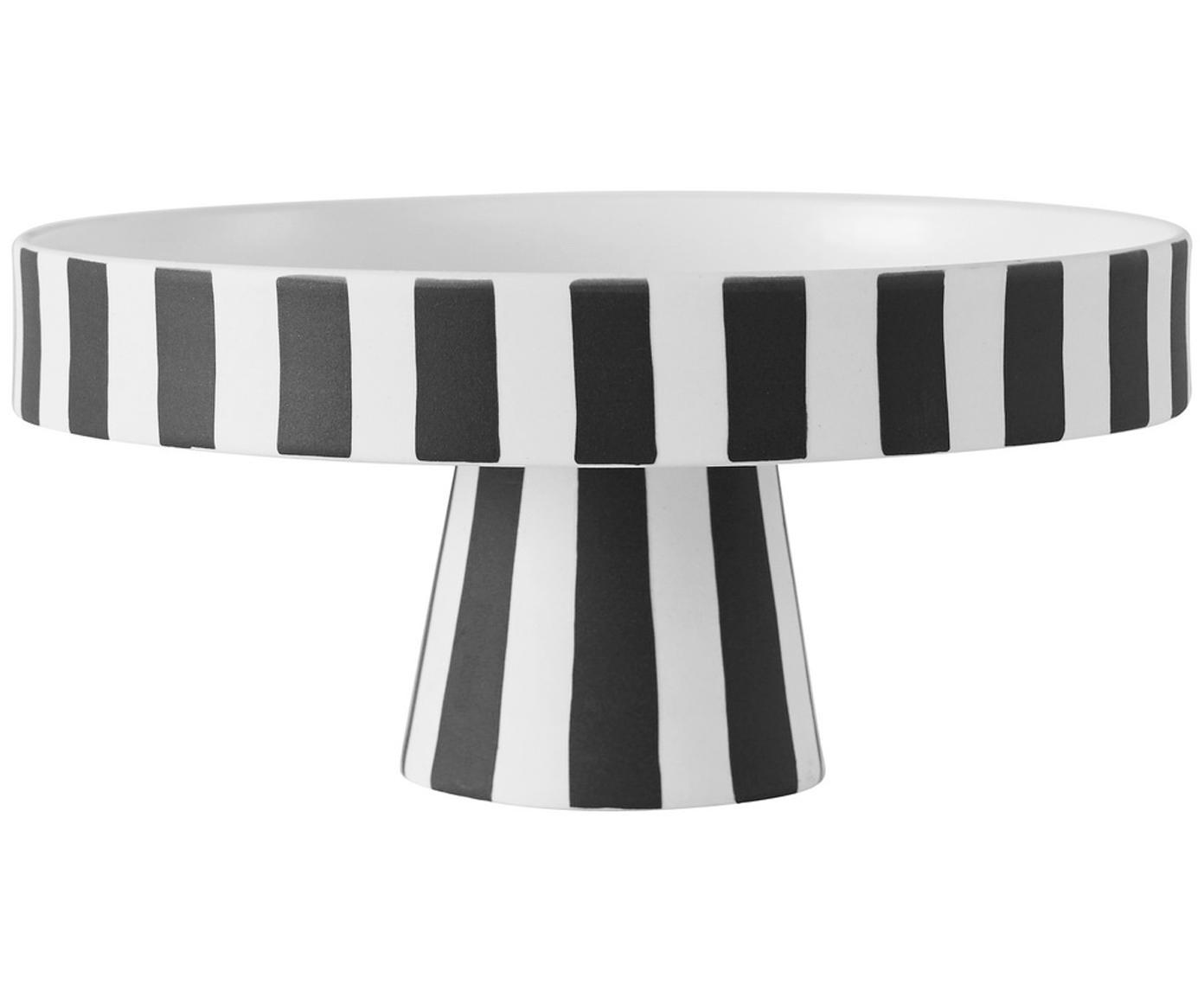 Alzata per dolci piccola Toppu, Ceramica, Bianco, nero, Ø 20 x Alt. 9 cm
