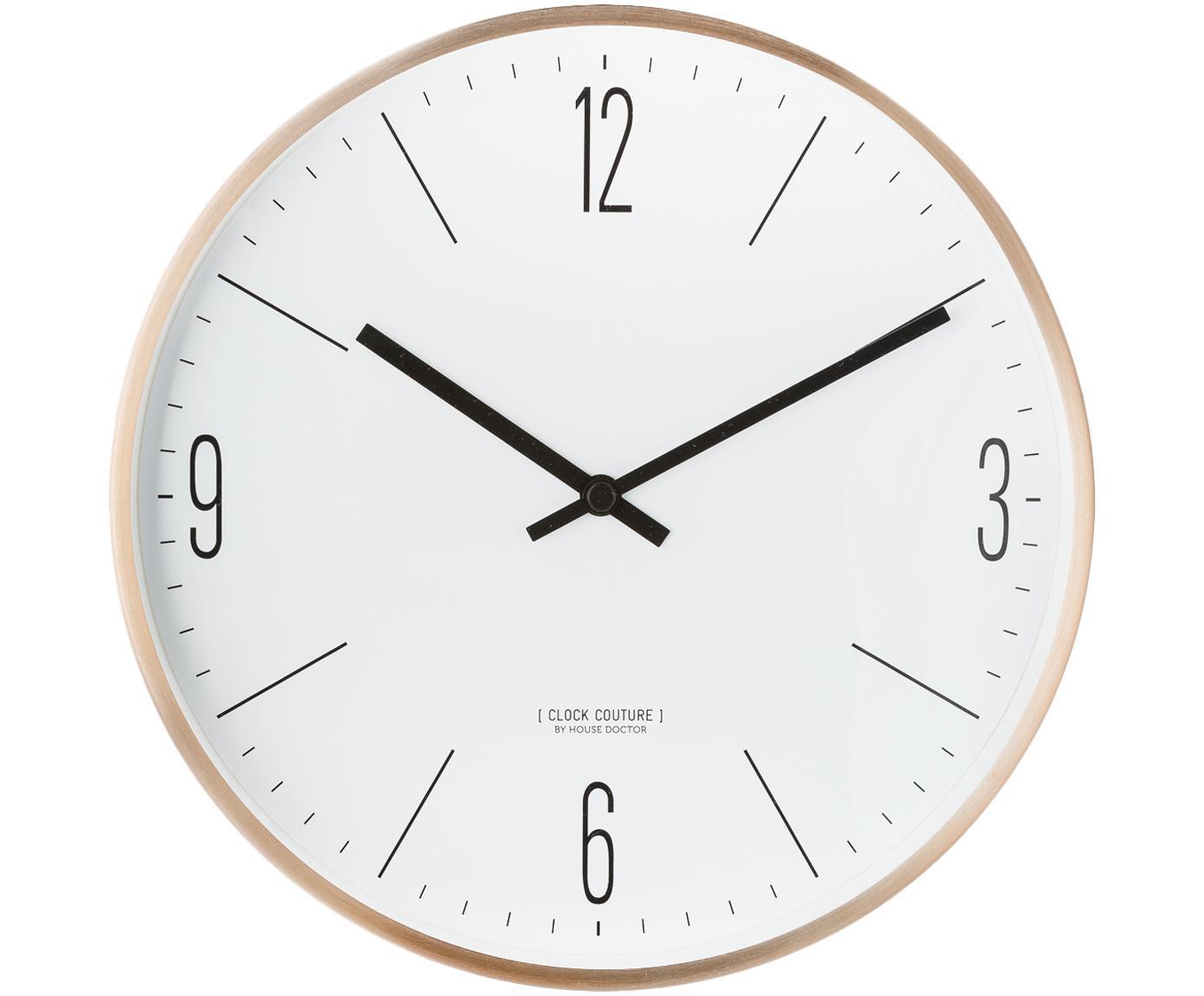 Wandklok Couture, Aluminium, Goudkleurig, wit, Ø 30 cm