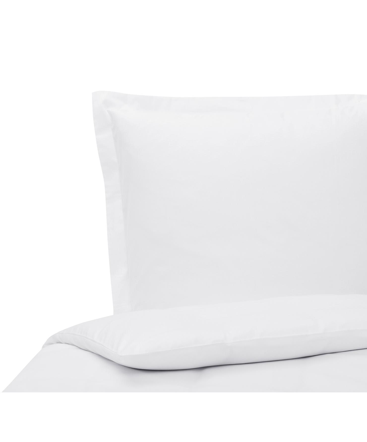 Funda nórdica de satén Premium, Blanco, Cama 90 cm (150 x 200 cm)