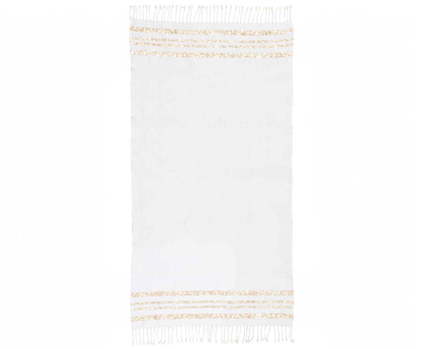 Fouta z lurexu Hamptons, Biały, odcienie złotego, S 100 x D 200 cm