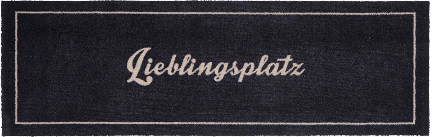 In- und Outdoorläufer Lieblingsplatz, rutschfest, Oberseite: 100% Polyamid, Unterseite: Gummi, Anthrazit, Weiss, 50 x 150 cm