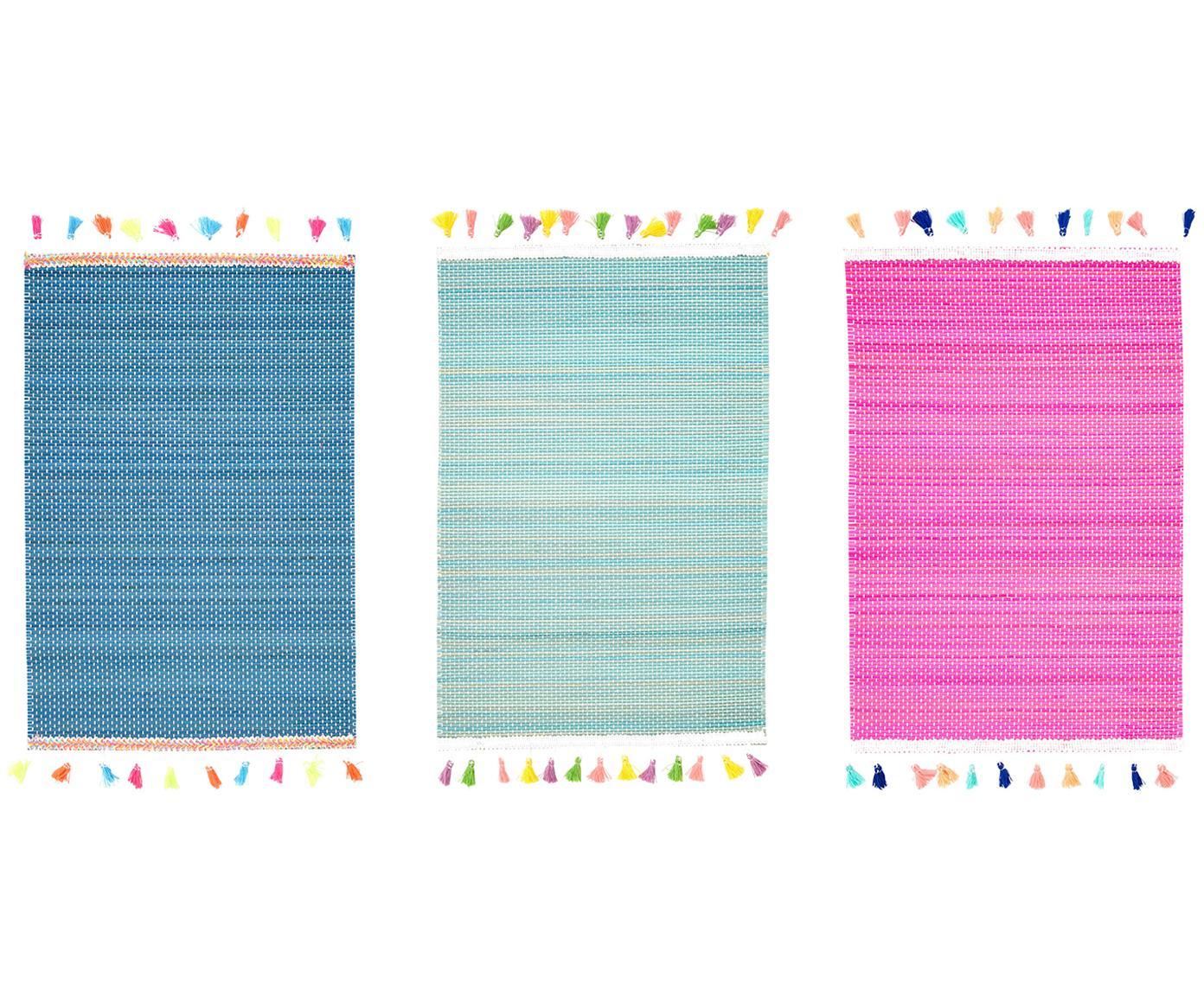 Komplet podkładek Tassel z drewna bambusowego, 3 elem., Drewno bambusowe, wiskoza, Turkusowy, niebieski, różowy, S 30 x D 40 cm