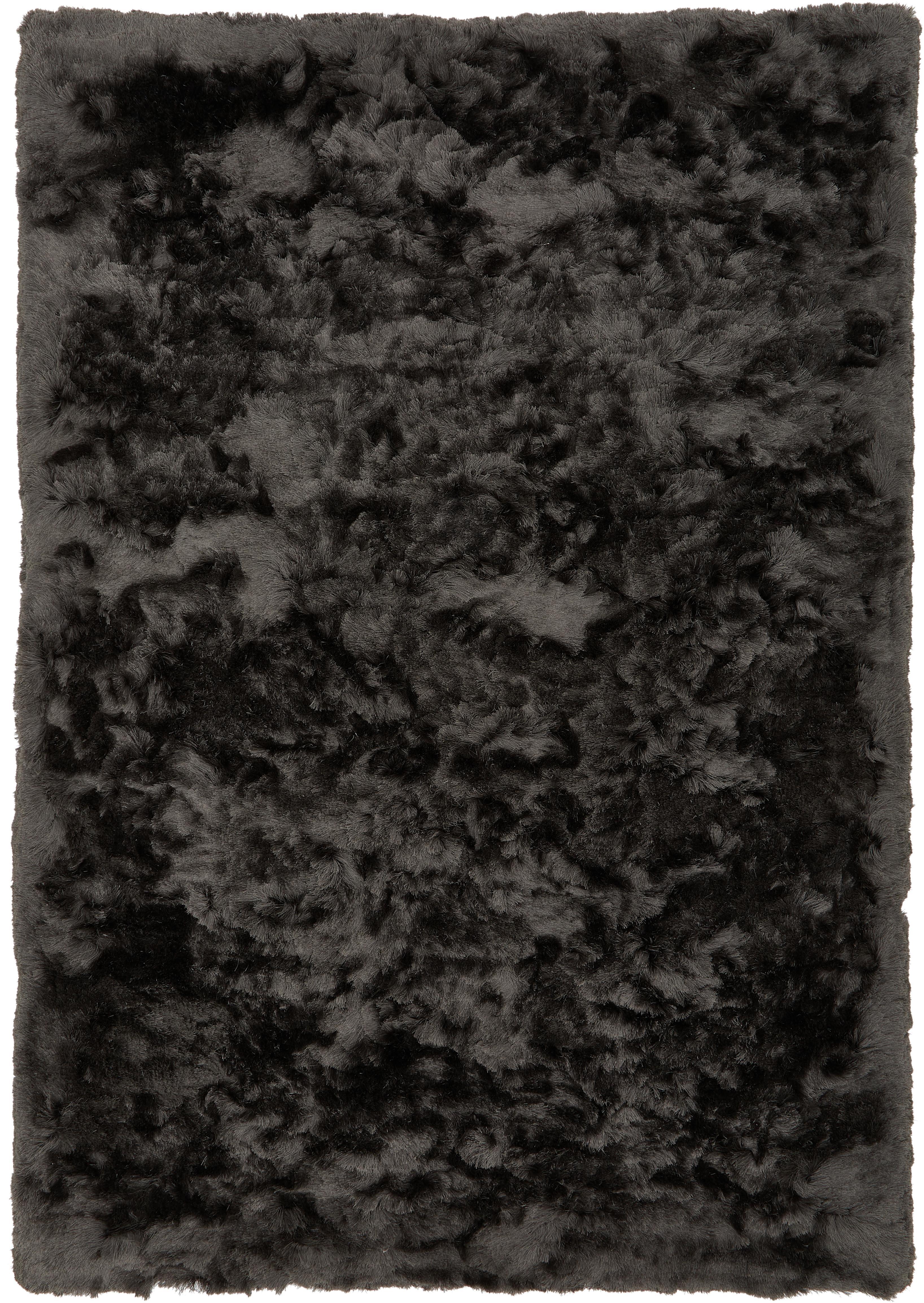 Tappeto a pelo lungo Jimmy, Vello: 100% poliestere, Retro: 100% cotone, Grigio scuro, Larg. 120 x Lung. 180 cm (taglia S)