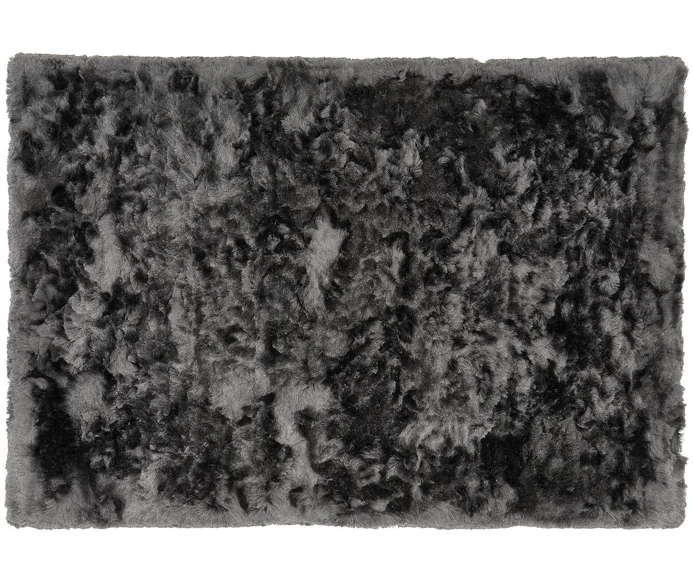 Alfombra artesanal de pelo largo brillante Jimmy, Parte superior: 100%poliéster, Reverso: 100%algodón, Gris oscuro, An 120 x L 180 cm (Tamaño S)